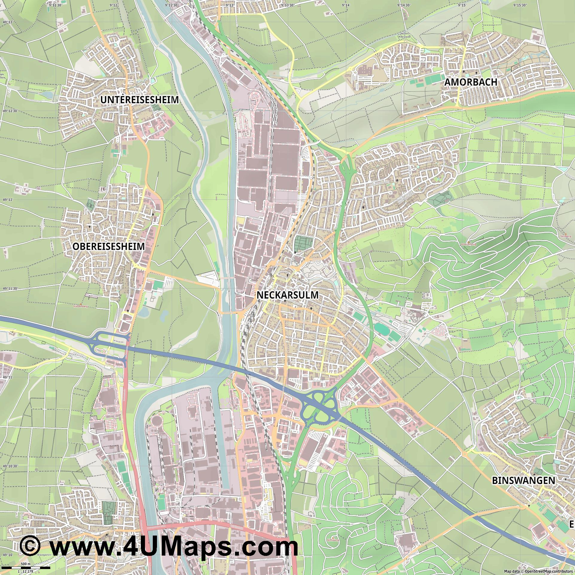 Neckarsulm  jpg ultra high detail preview vector city map