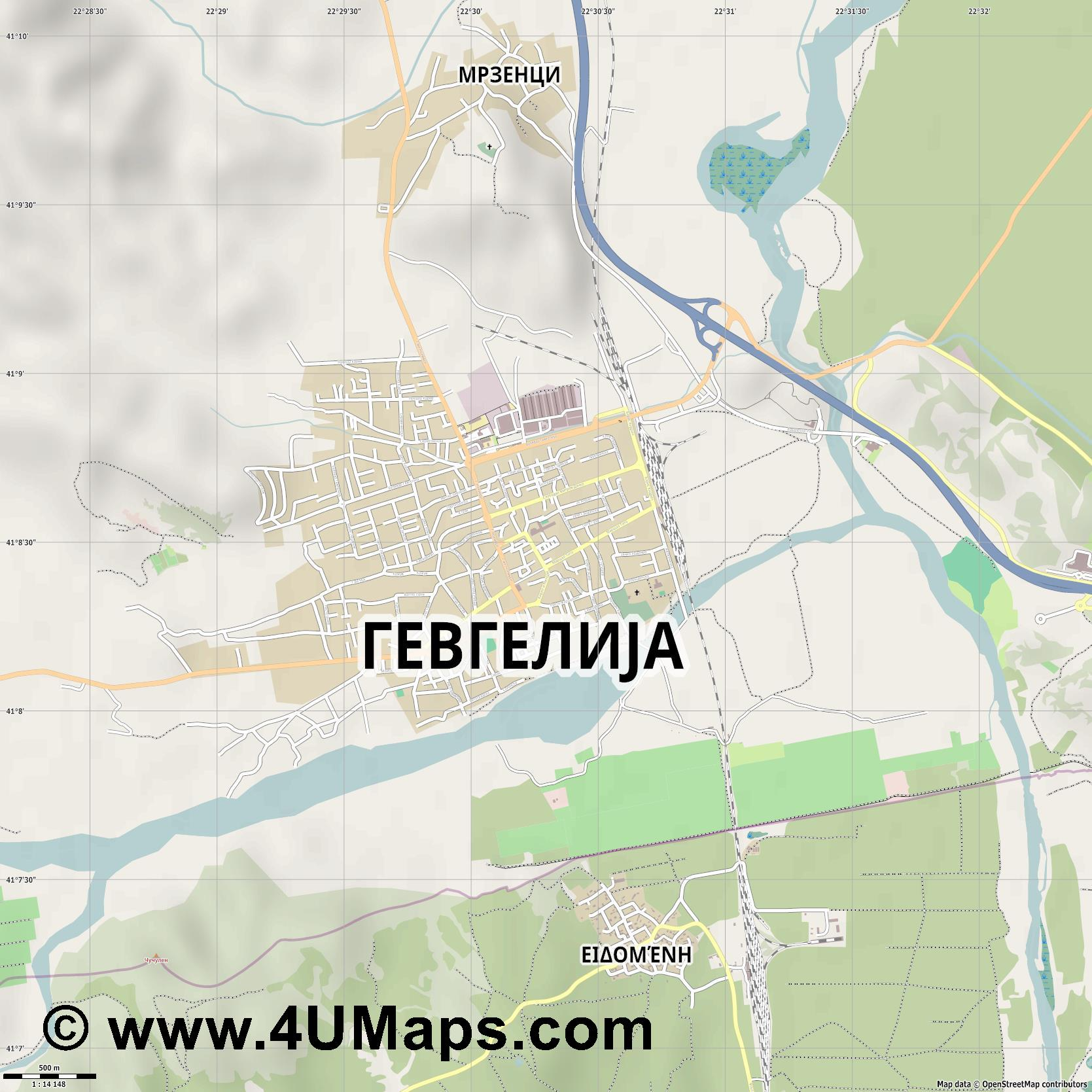 Гевгелија Gevgelija Guevgueliya  jpg ultra high detail preview vector city map