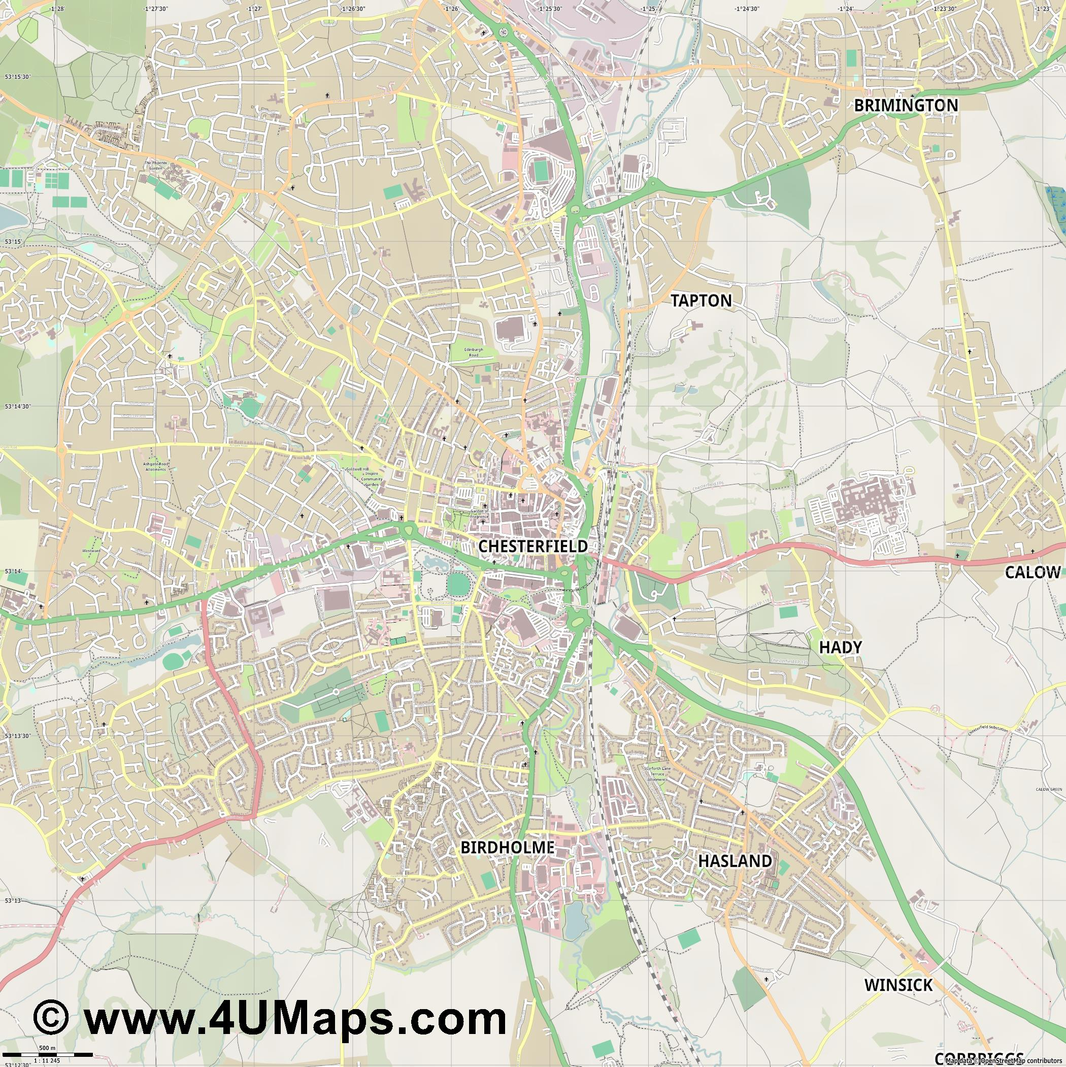 Chesterfield  jpg ultra high detail preview vector city map