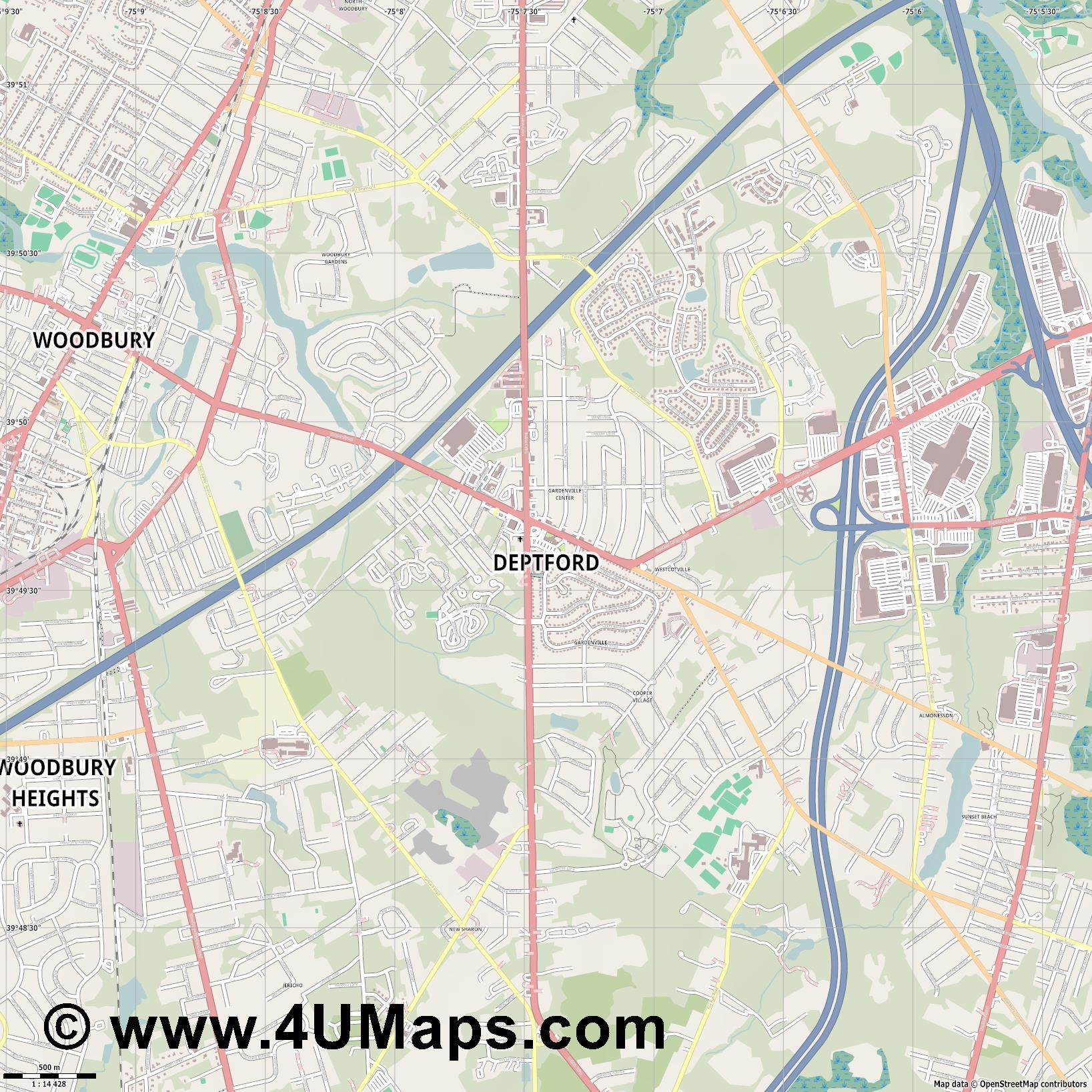 Deptford  jpg ultra high detail preview vector city map