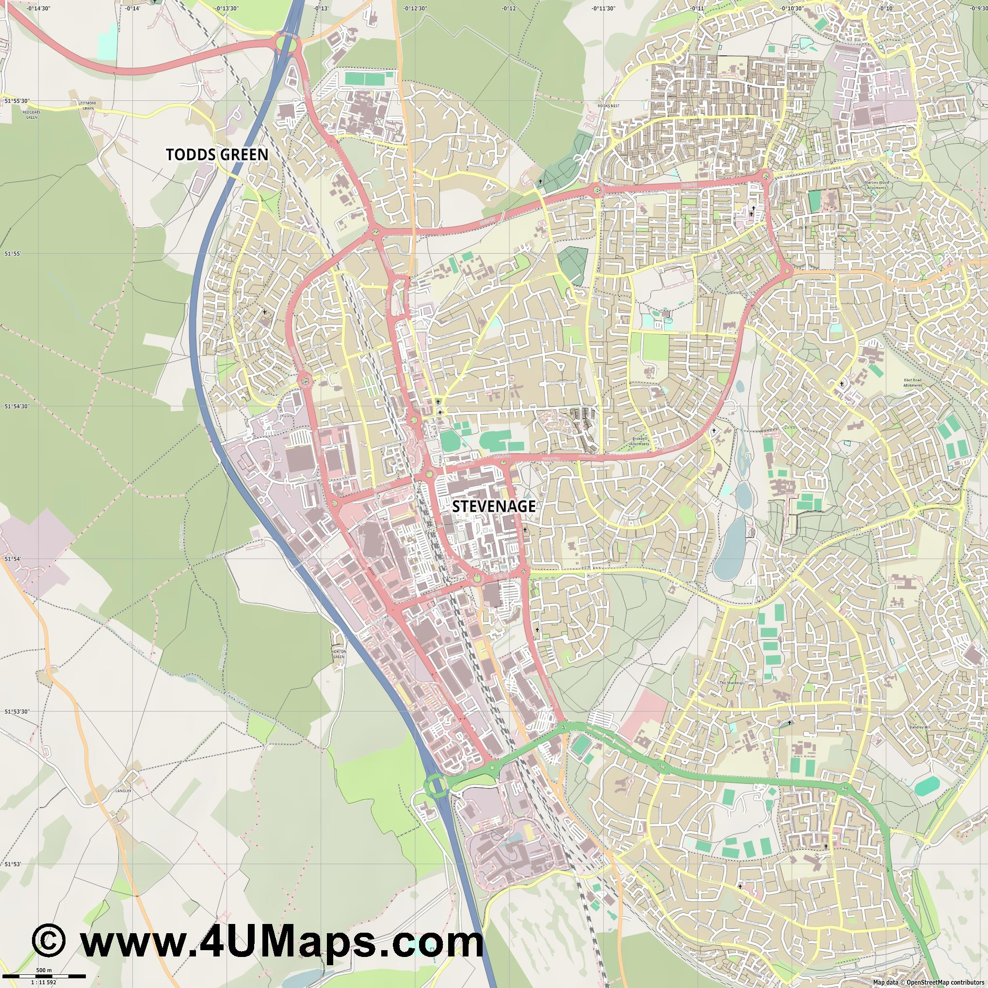 Stevenage  jpg ultra high detail preview vector city map