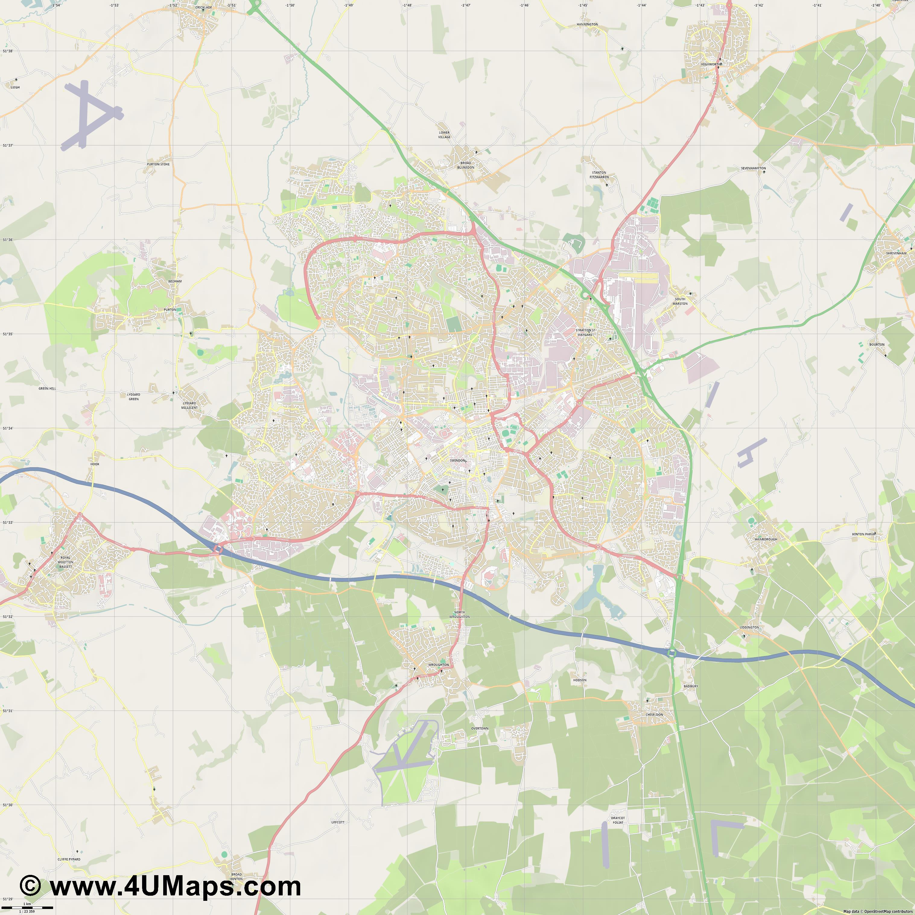Swindon  jpg high detail, large area preview vector city map