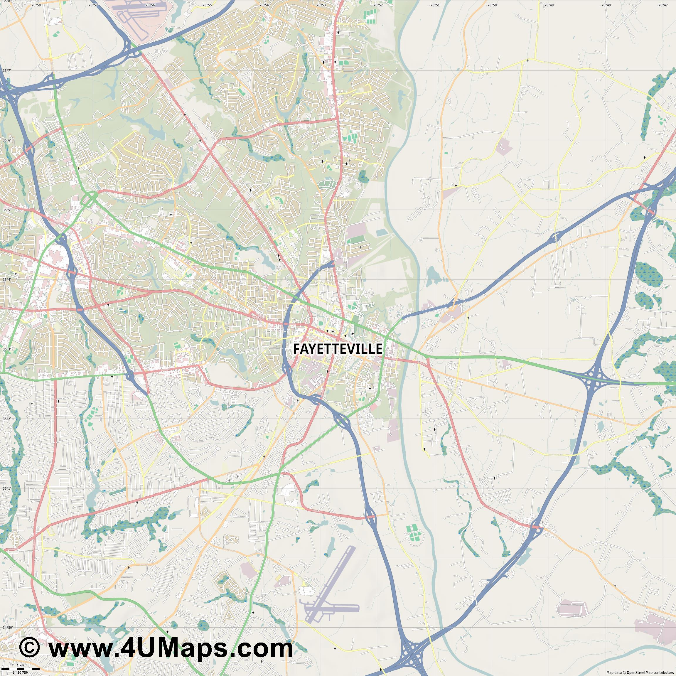 Fayetteville  jpg high detail, large area preview vector city map