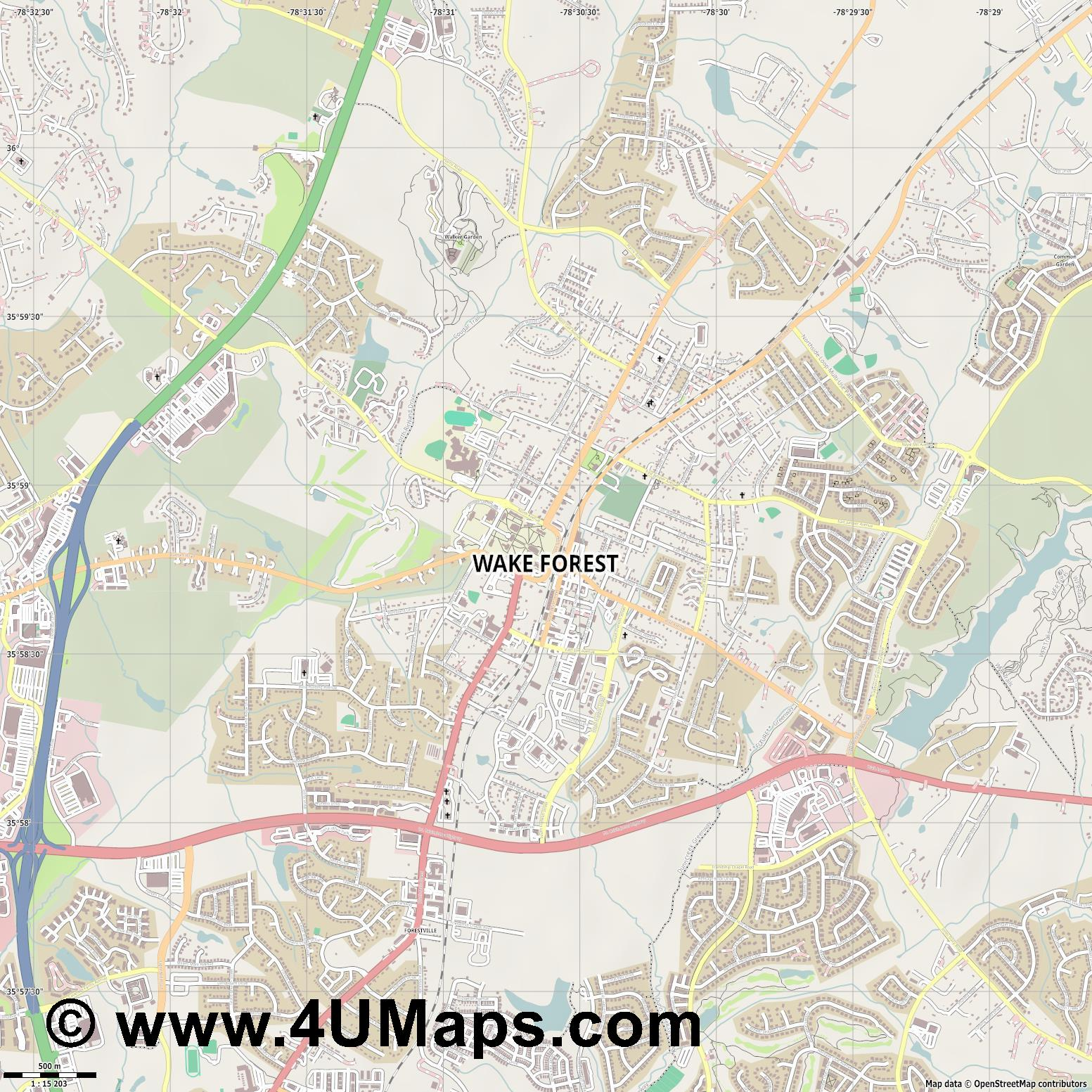 Wake Forest  jpg ultra high detail preview vector city map