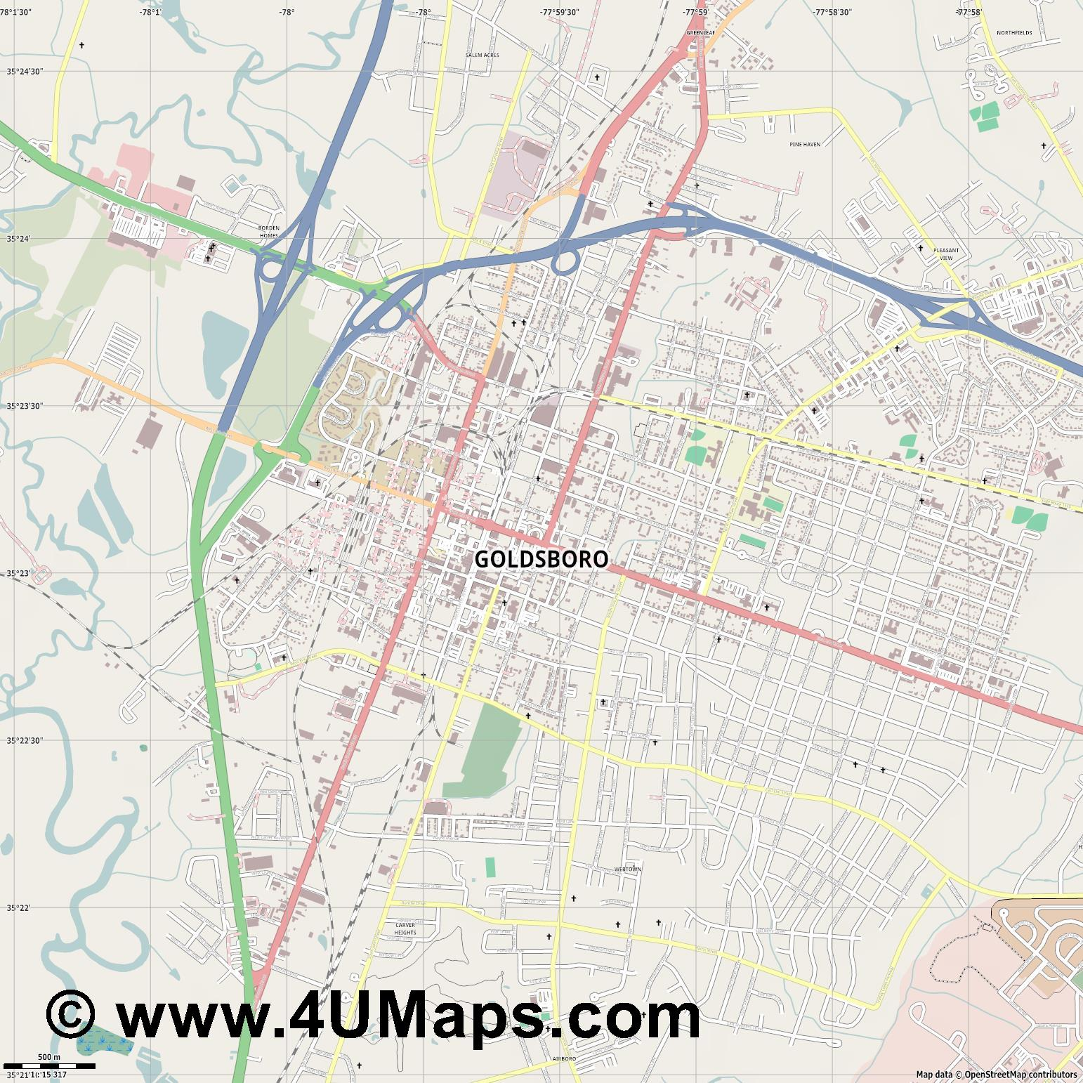Goldsboro  jpg ultra high detail preview vector city map
