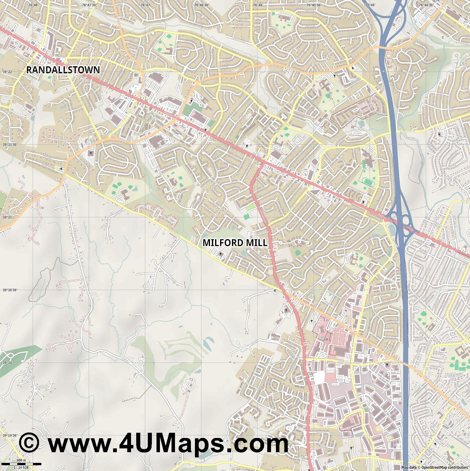Milford Mill  jpg ultra high detail preview vector city map