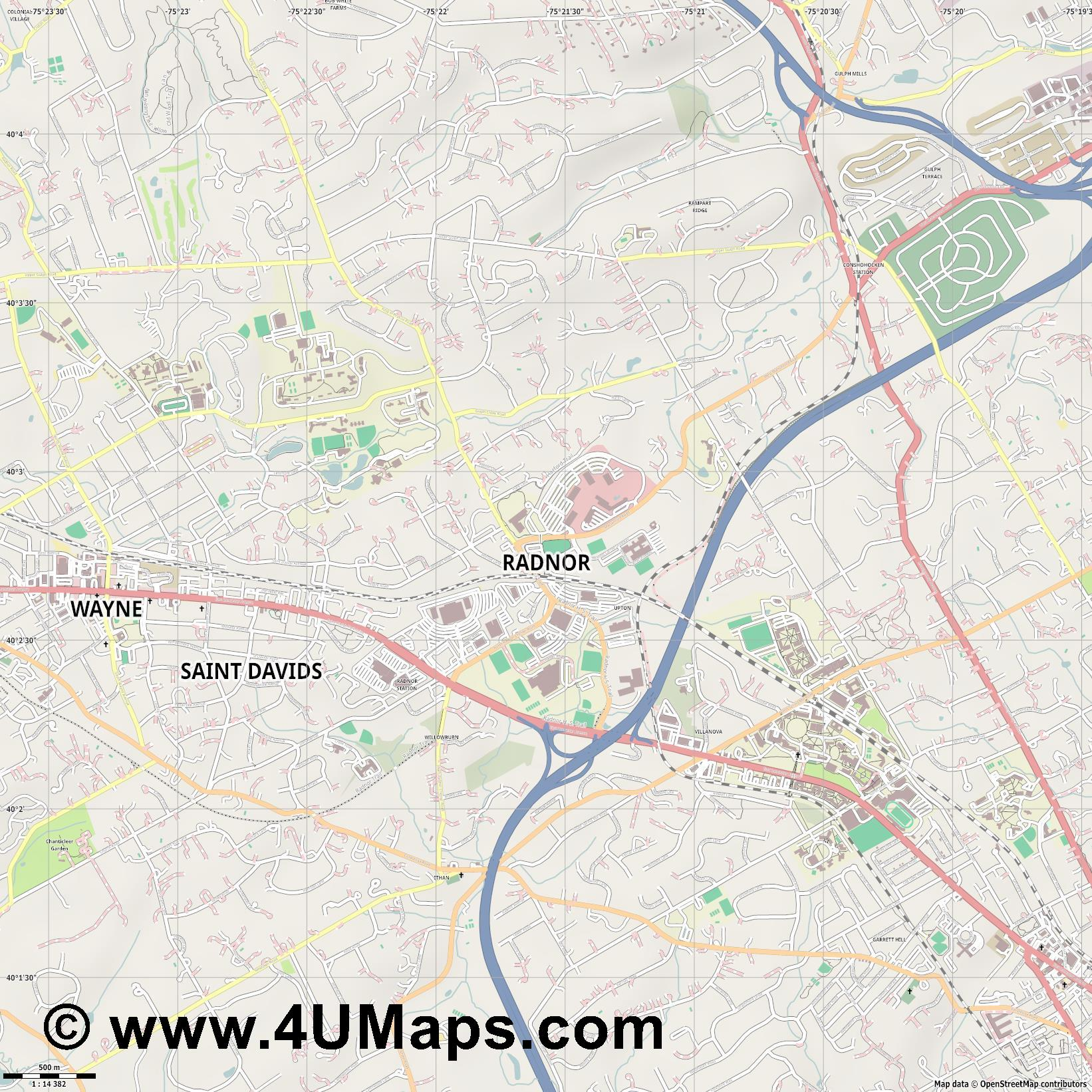 Radnor  jpg ultra high detail preview vector city map