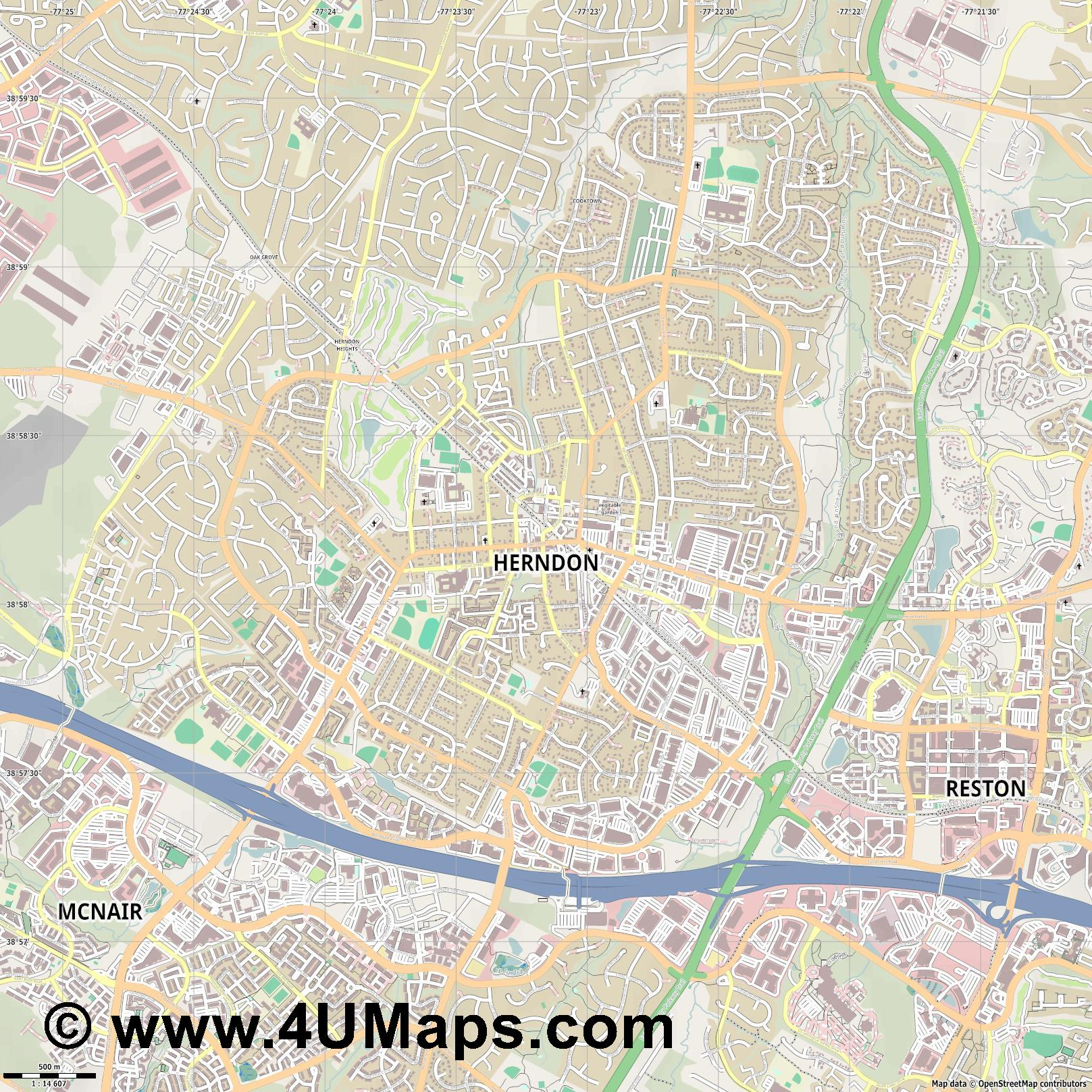 Herndon  jpg ultra high detail preview vector city map