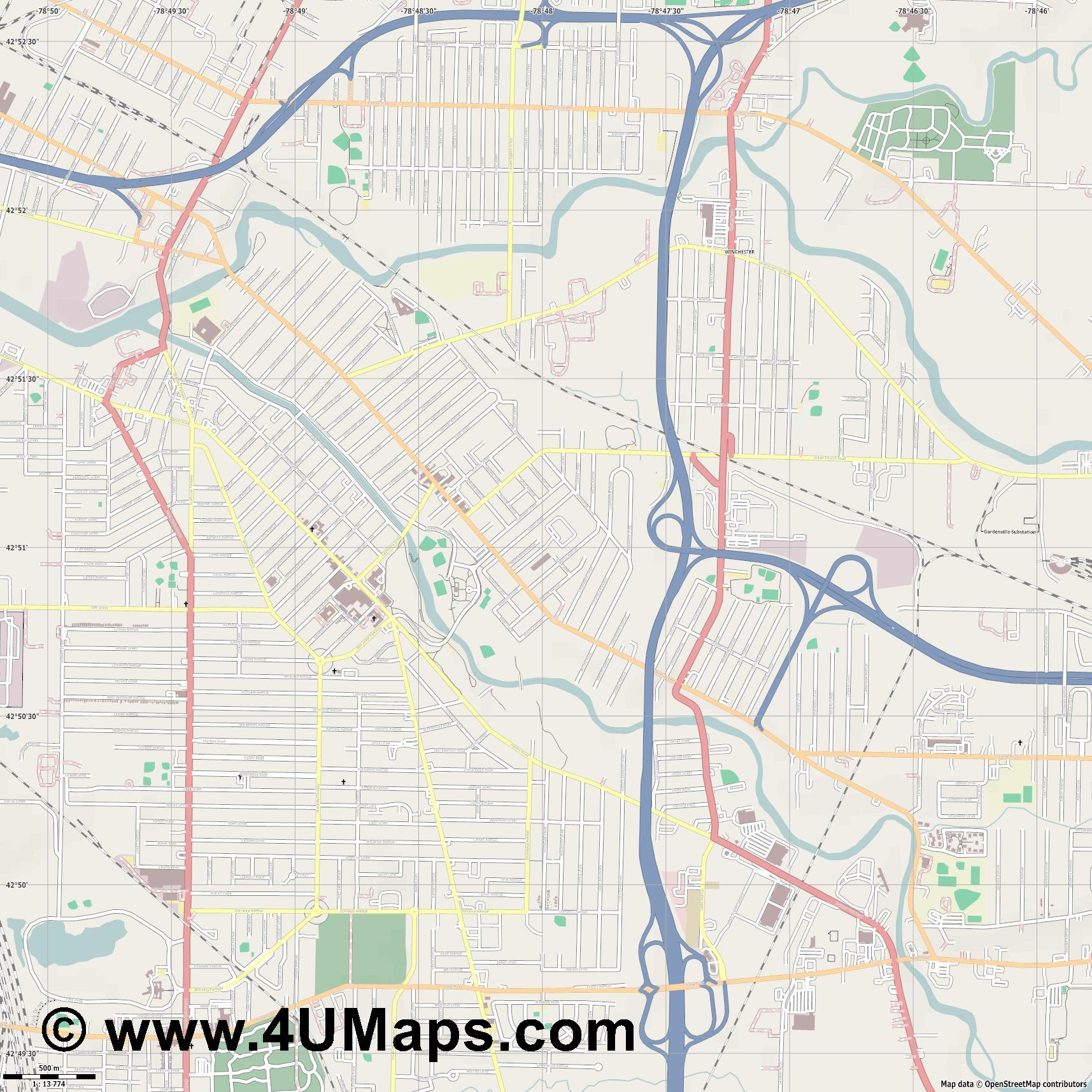 West Seneca  jpg ultra high detail preview vector city map