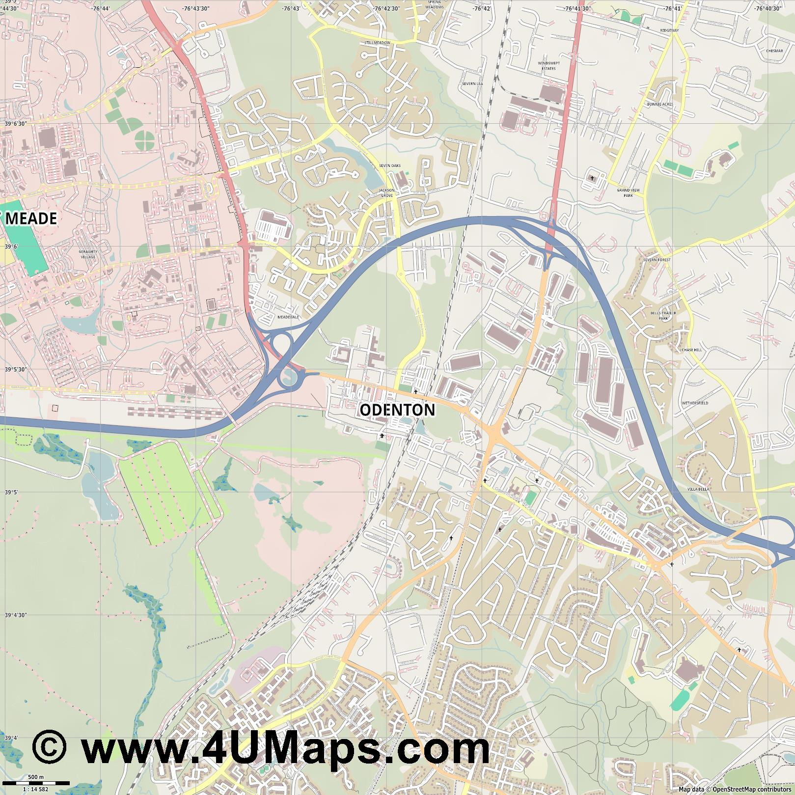 Odenton  jpg ultra high detail preview vector city map