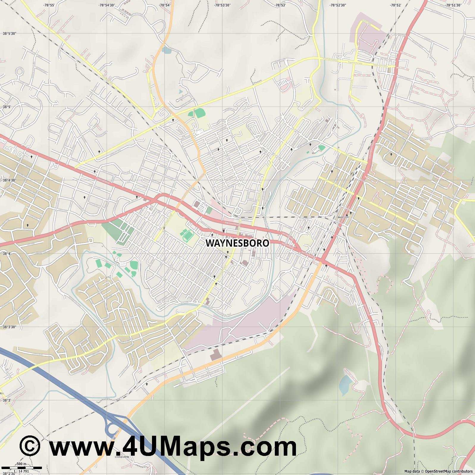 Waynesboro  jpg ultra high detail preview vector city map