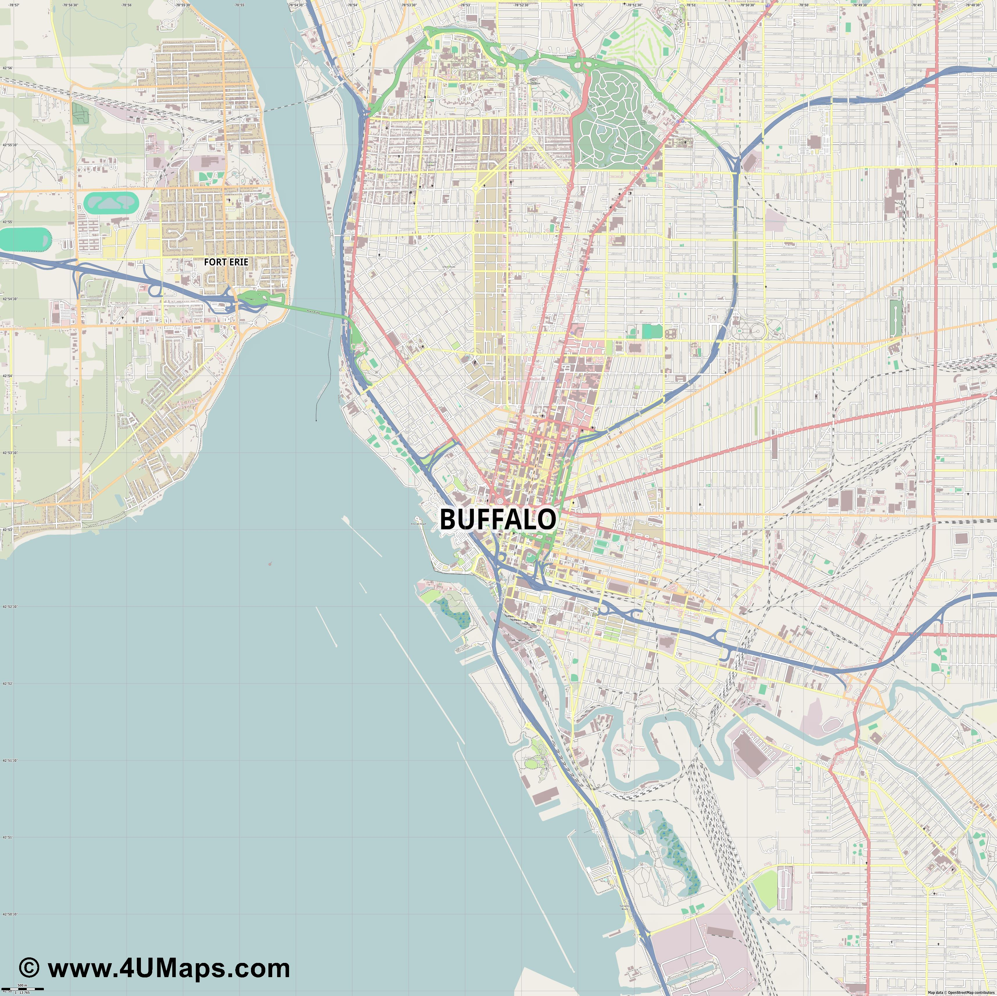 Buffalo  jpg ultra high detail preview vector city map