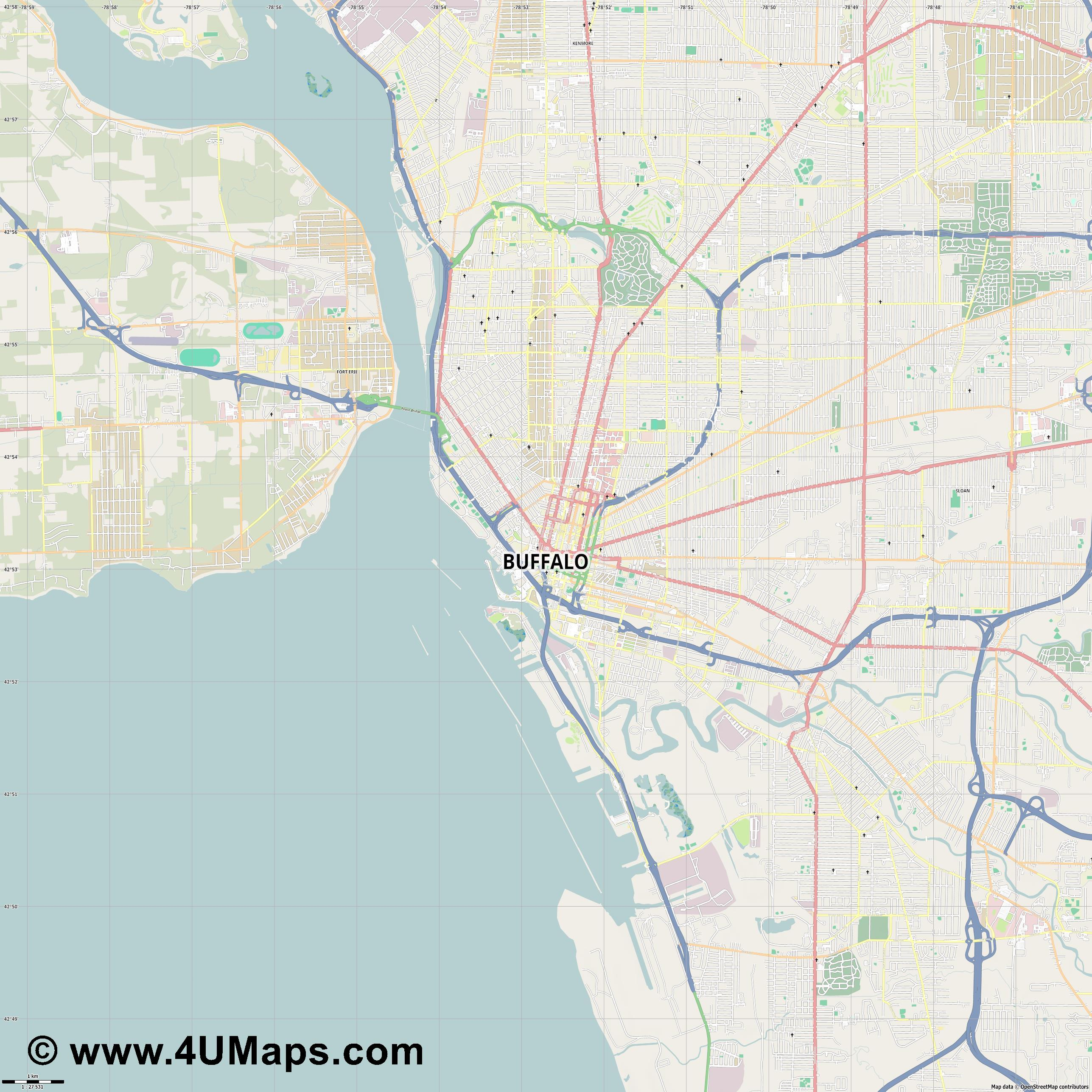 Buffalo  jpg high detail, large area preview vector city map