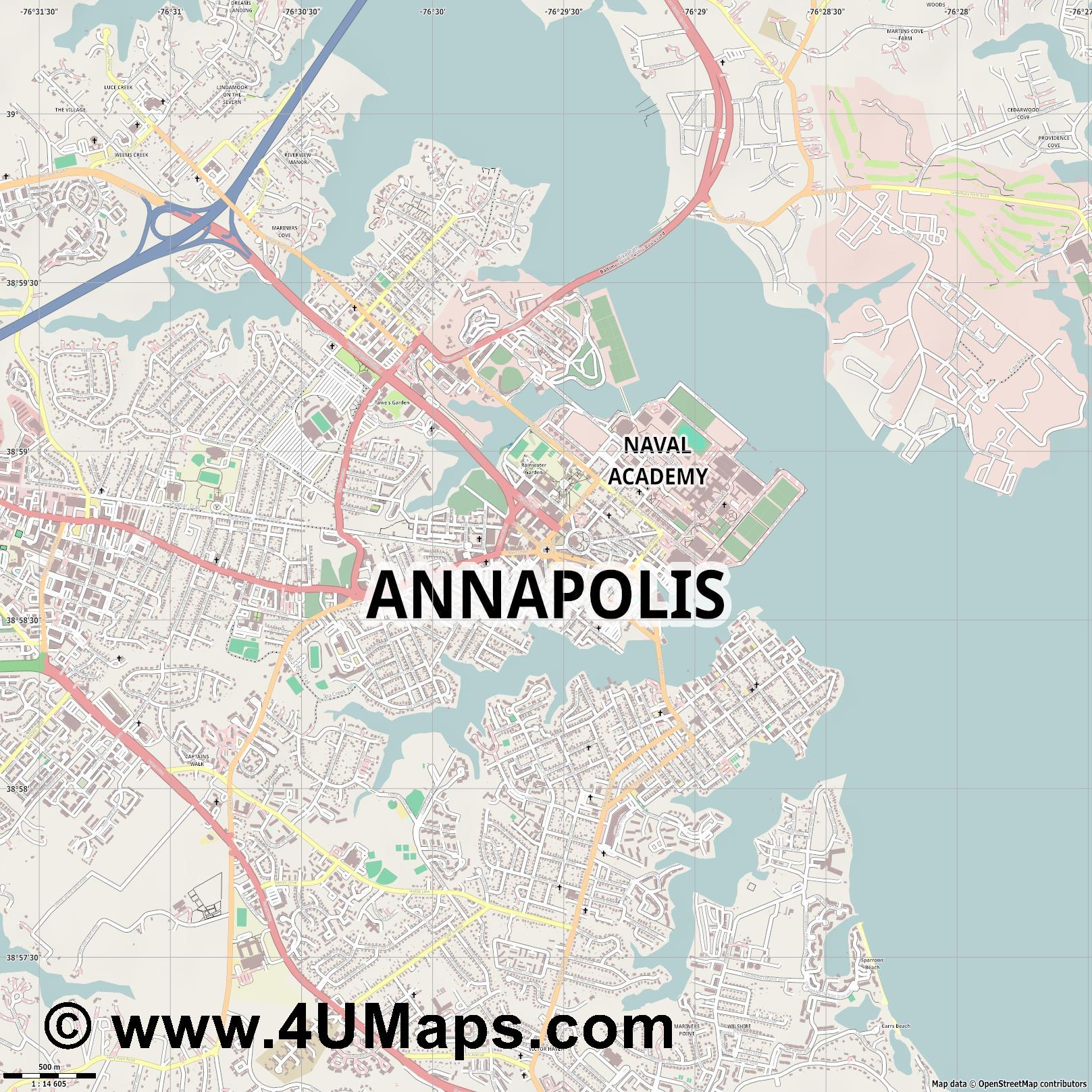 Annapolis  jpg ultra high detail preview vector city map