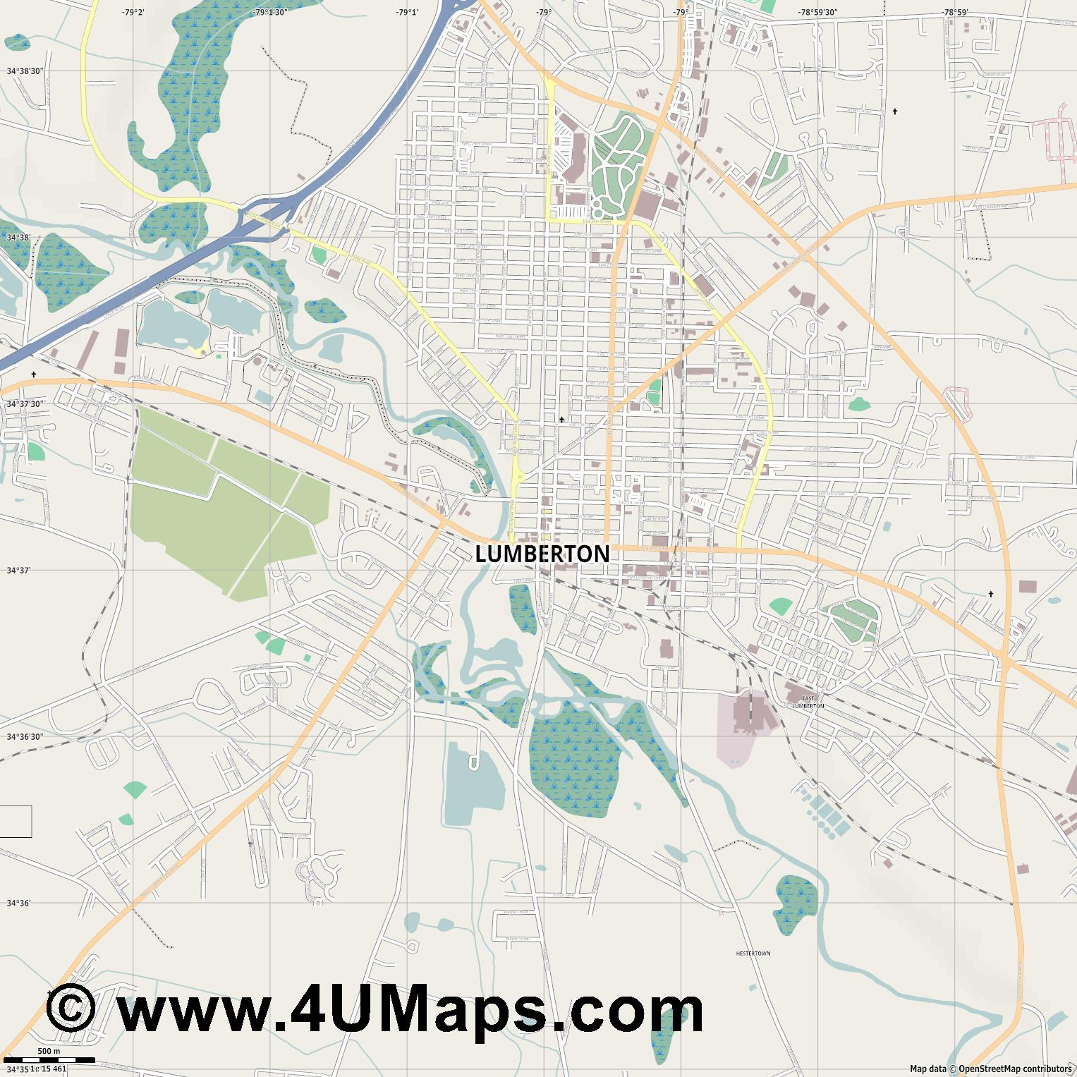 Lumberton  jpg ultra high detail preview vector city map