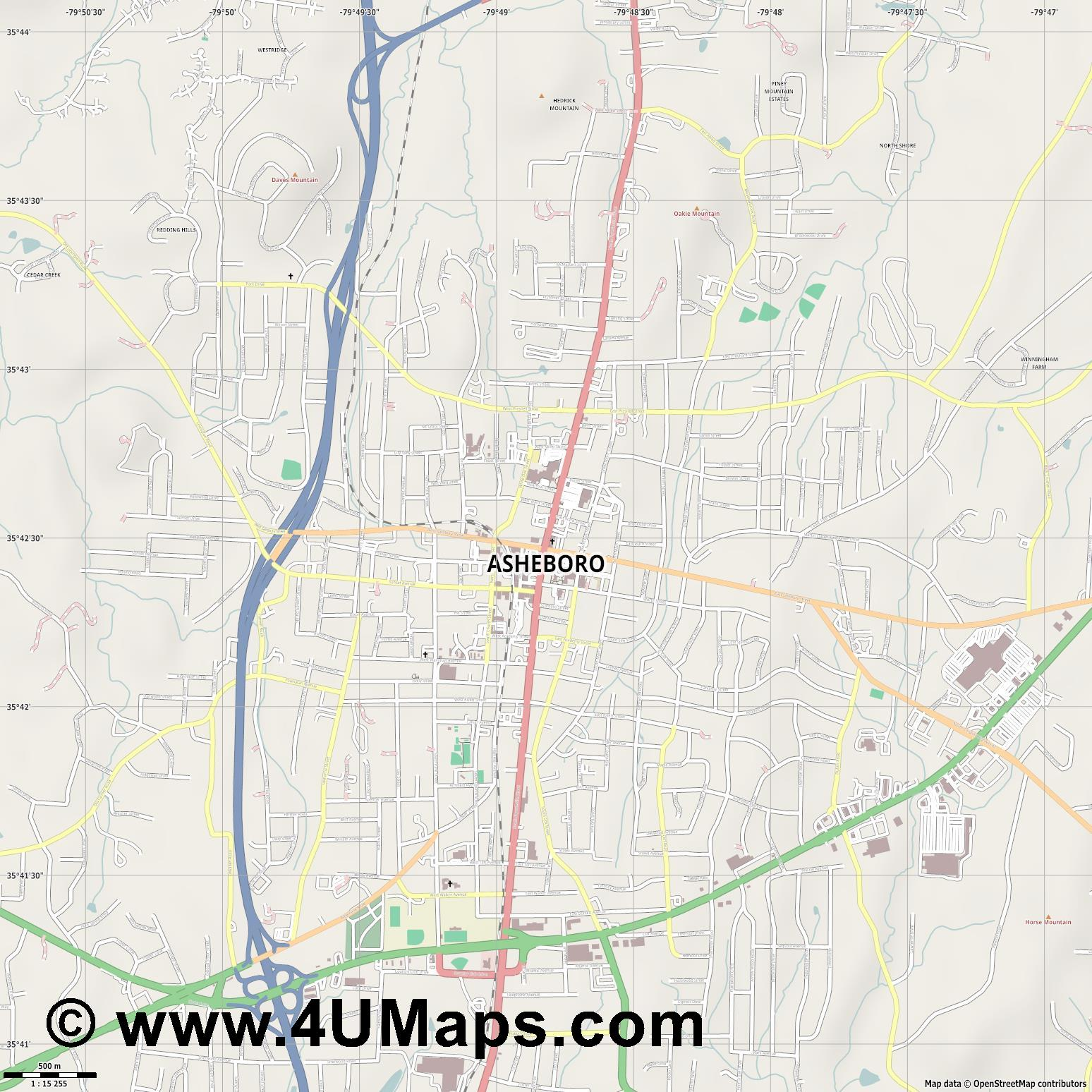 Asheboro  jpg ultra high detail preview vector city map