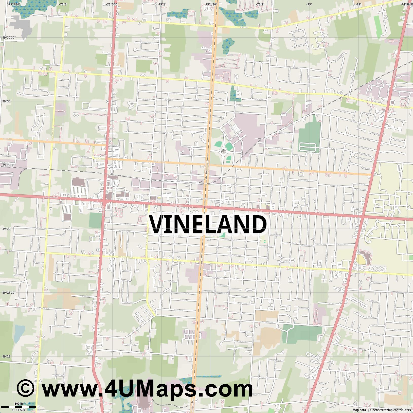 Vineland  jpg ultra high detail preview vector city map