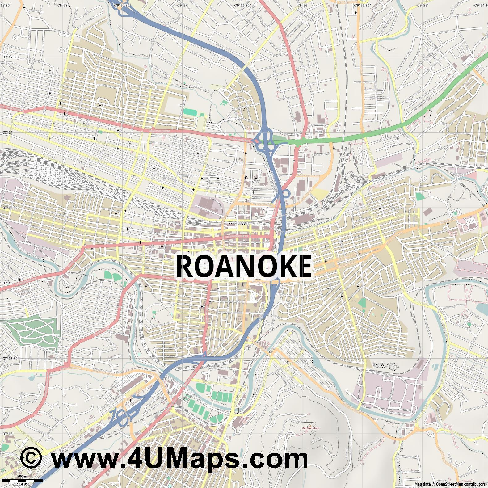 Roanoke  jpg ultra high detail preview vector city map