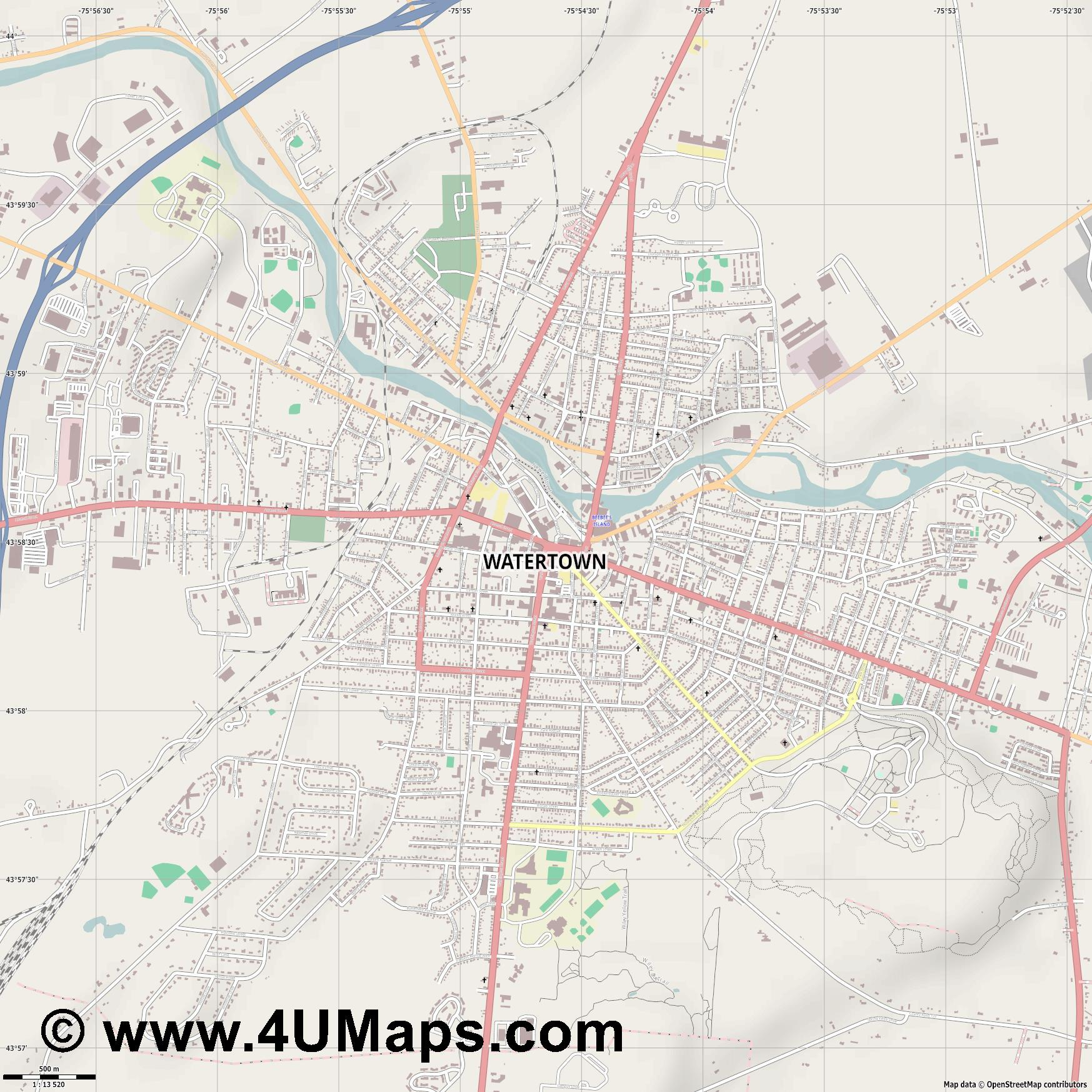 Watertown  jpg ultra high detail preview vector city map
