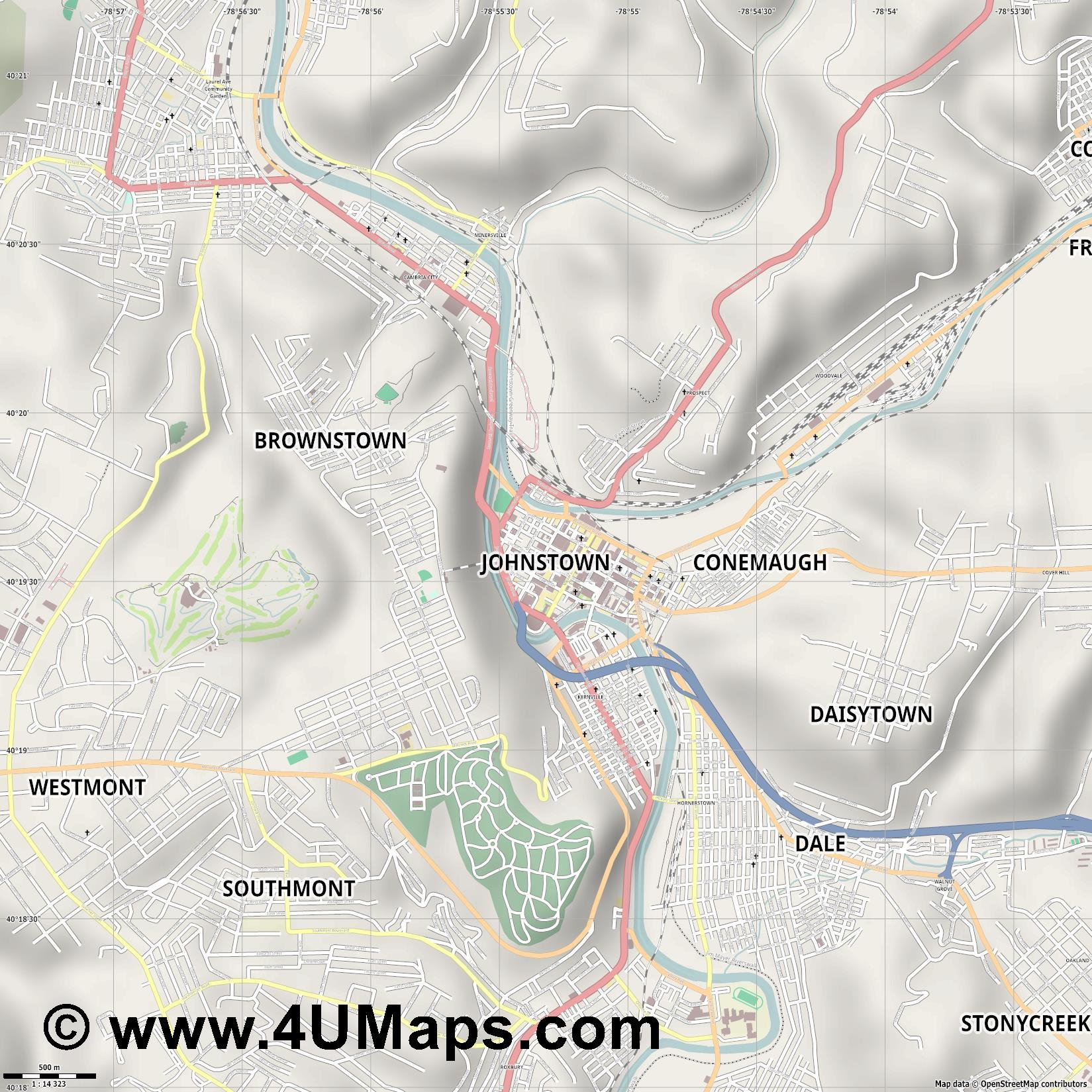Johnstown  jpg ultra high detail preview vector city map