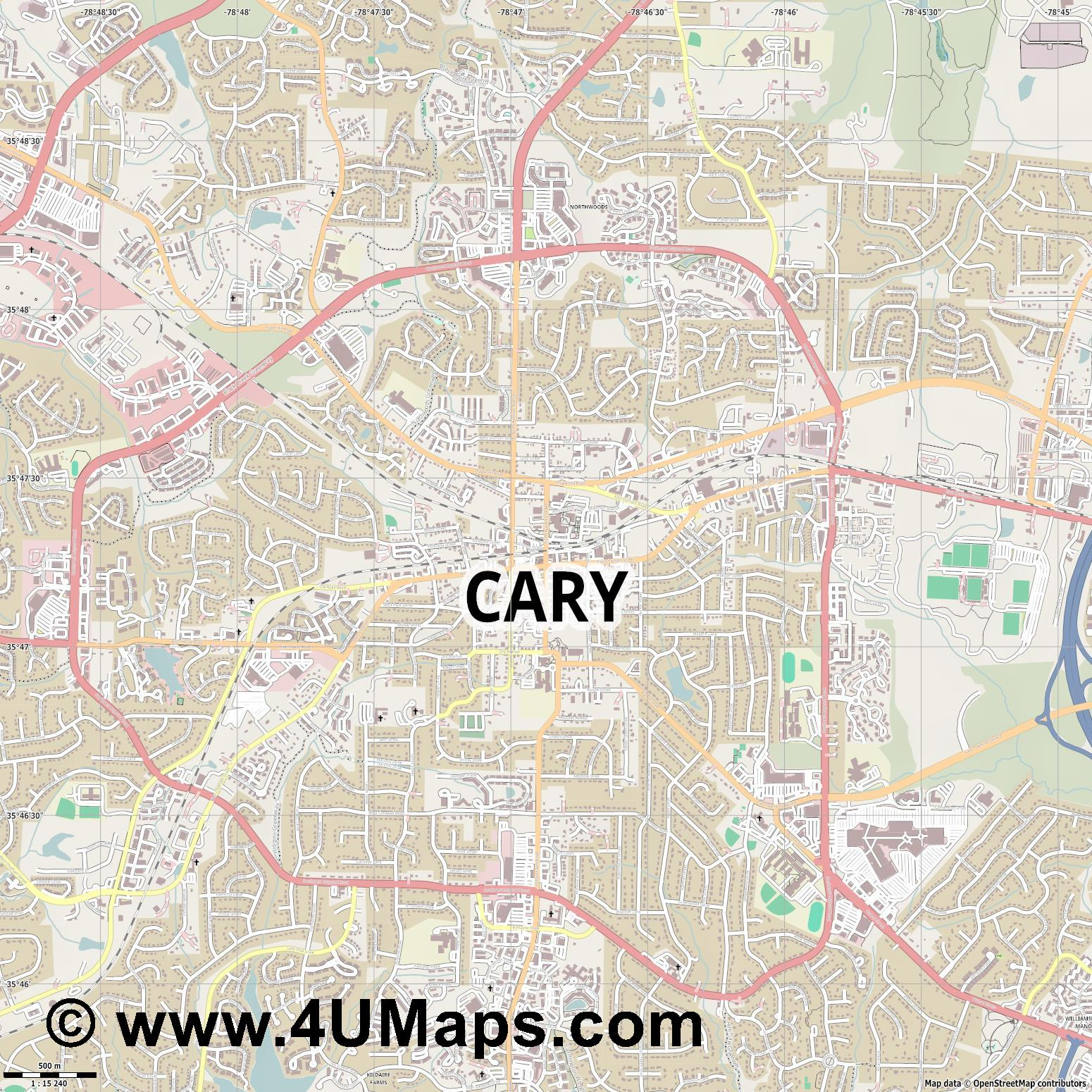 Cary  jpg ultra high detail preview vector city map