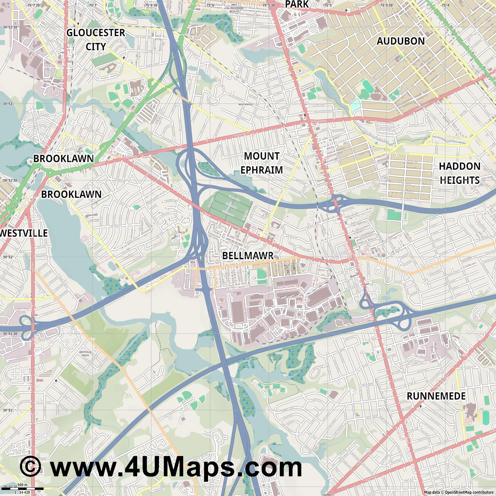 Bellmawr  jpg ultra high detail preview vector city map