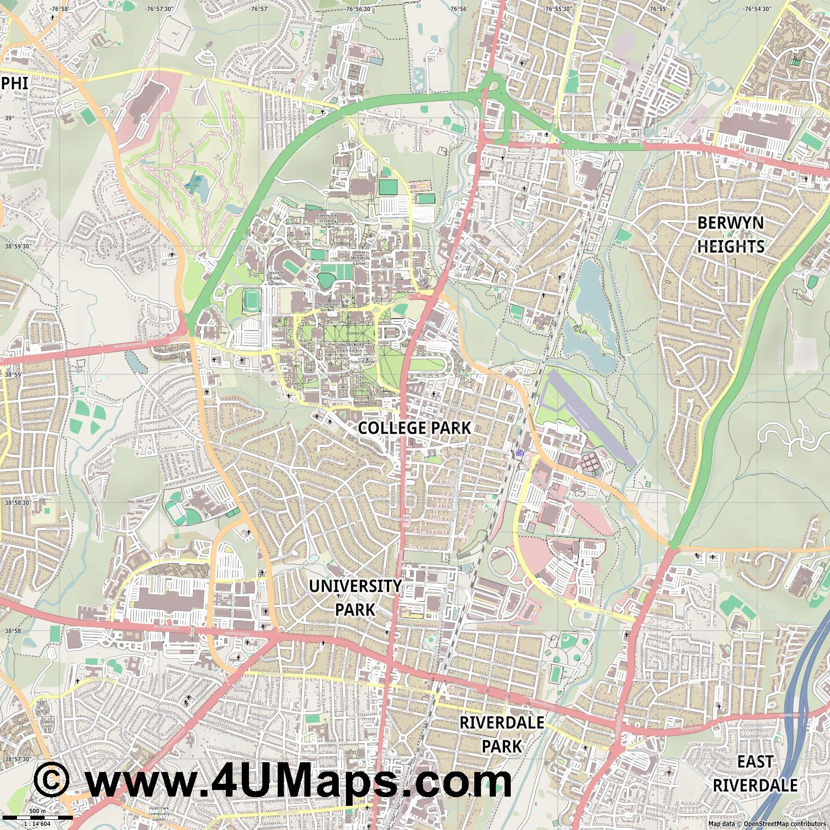 College Park  jpg ultra high detail preview vector city map