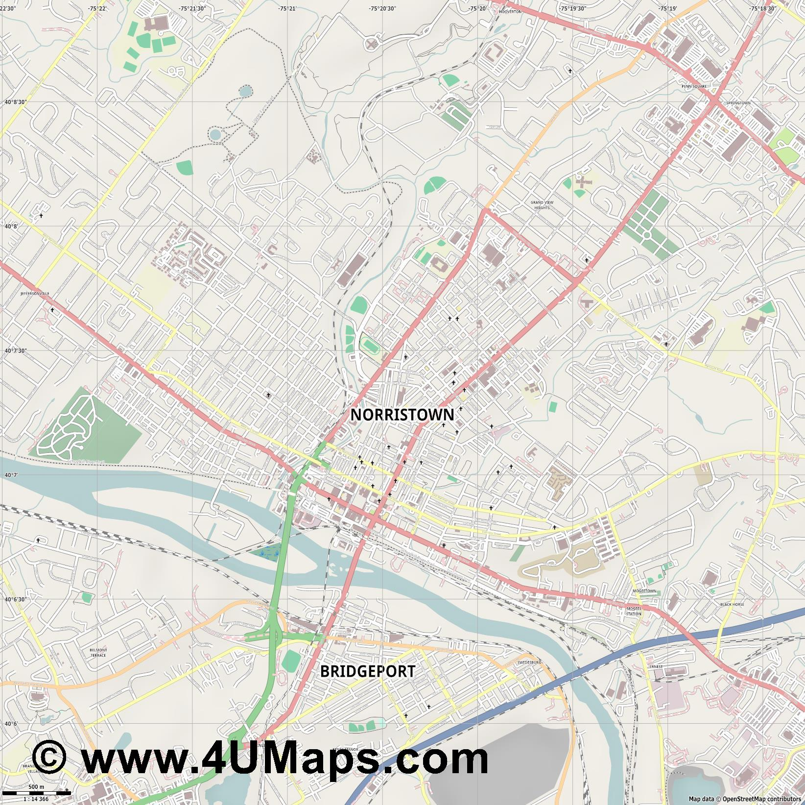 Norristown  jpg ultra high detail preview vector city map