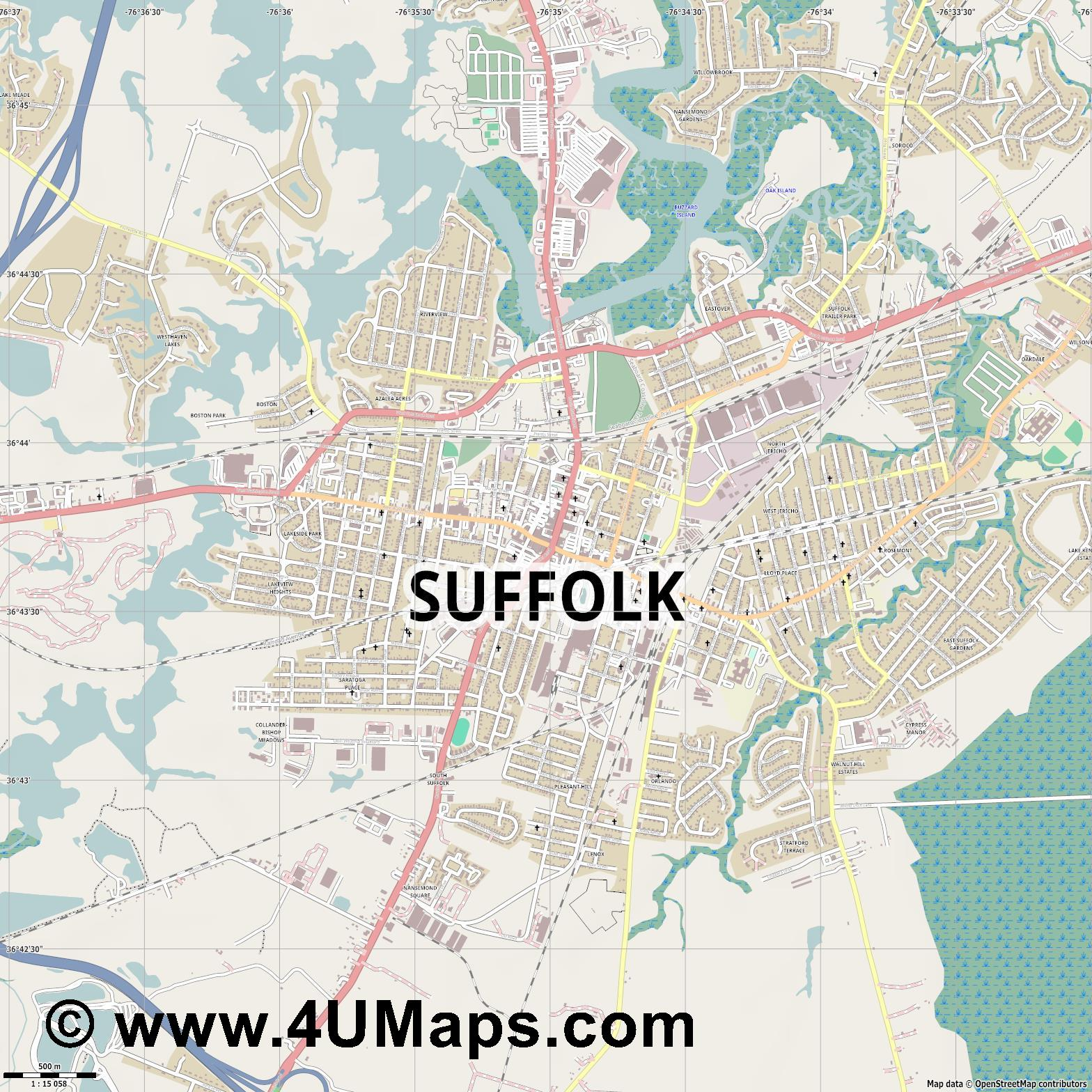 Suffolk  jpg ultra high detail preview vector city map