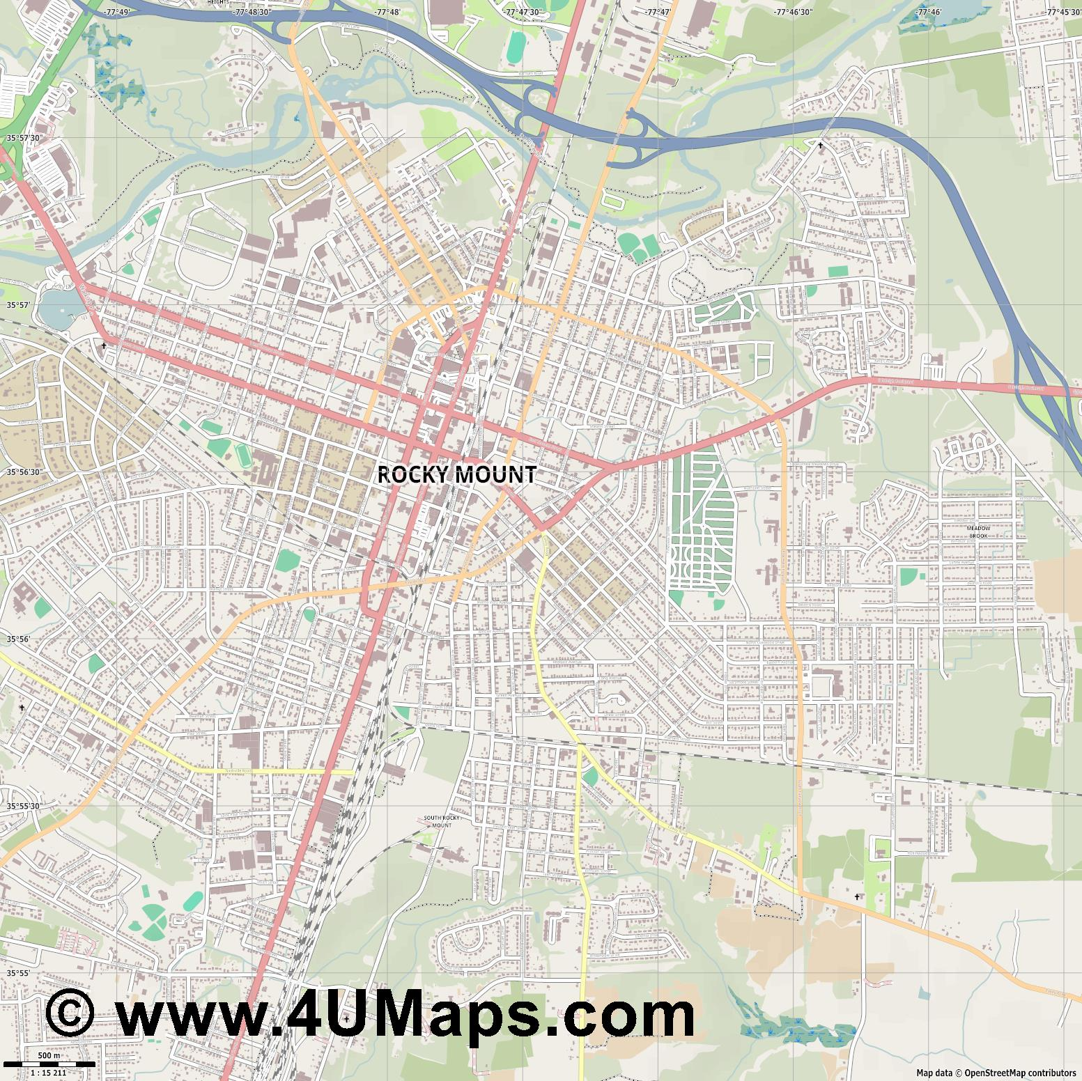 Rocky Mount  jpg ultra high detail preview vector city map