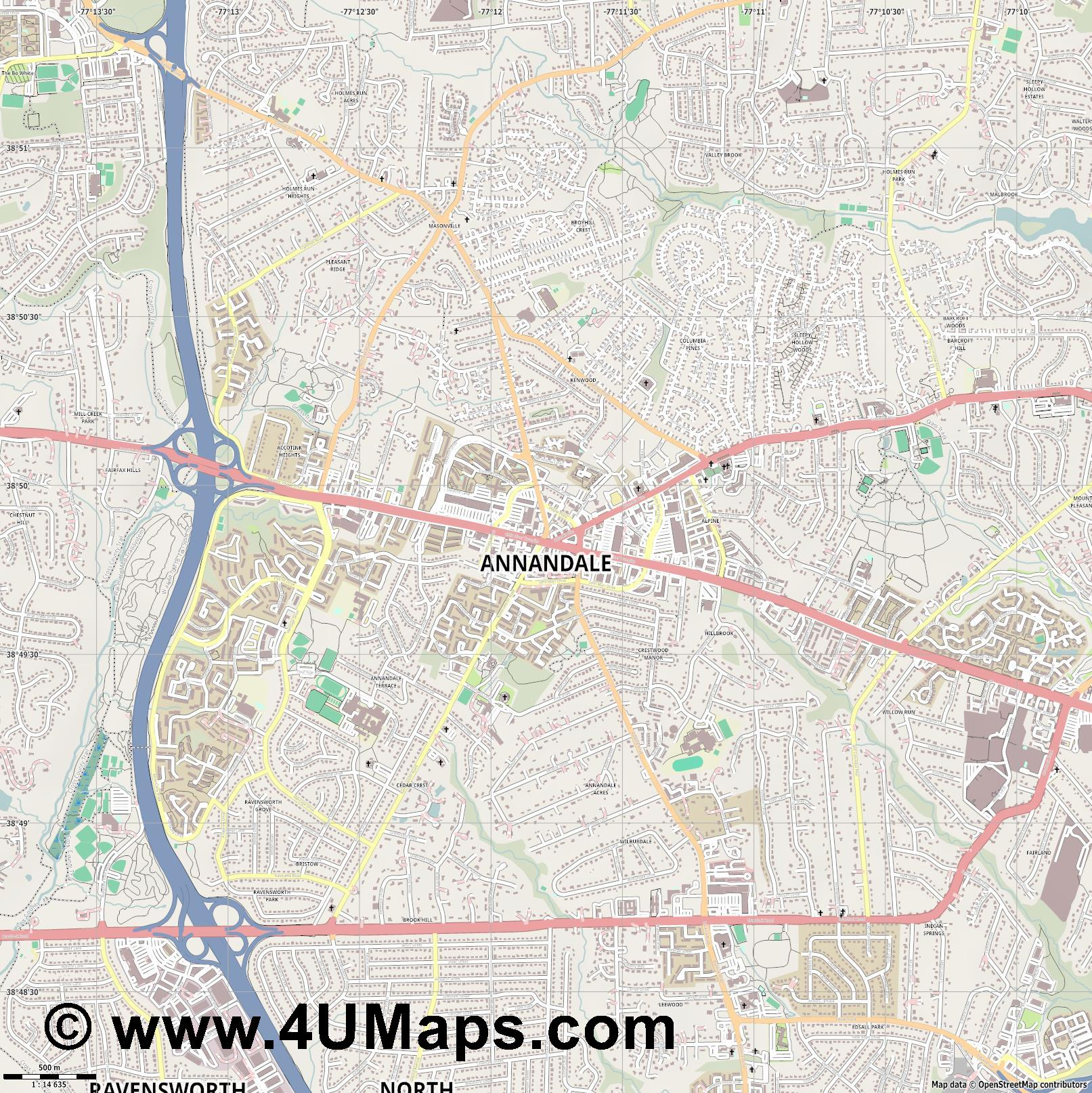 Annandale  jpg ultra high detail preview vector city map
