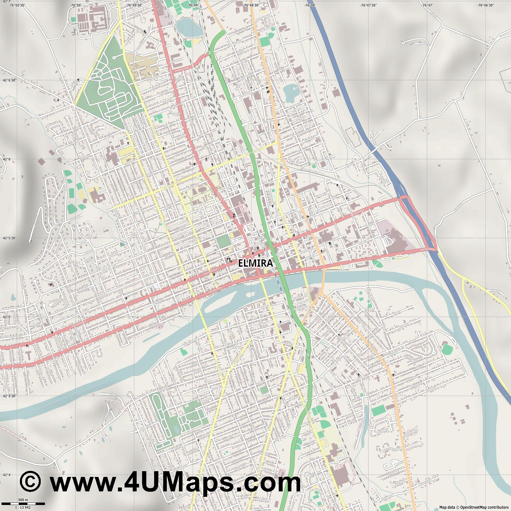 Elmira  jpg ultra high detail preview vector city map