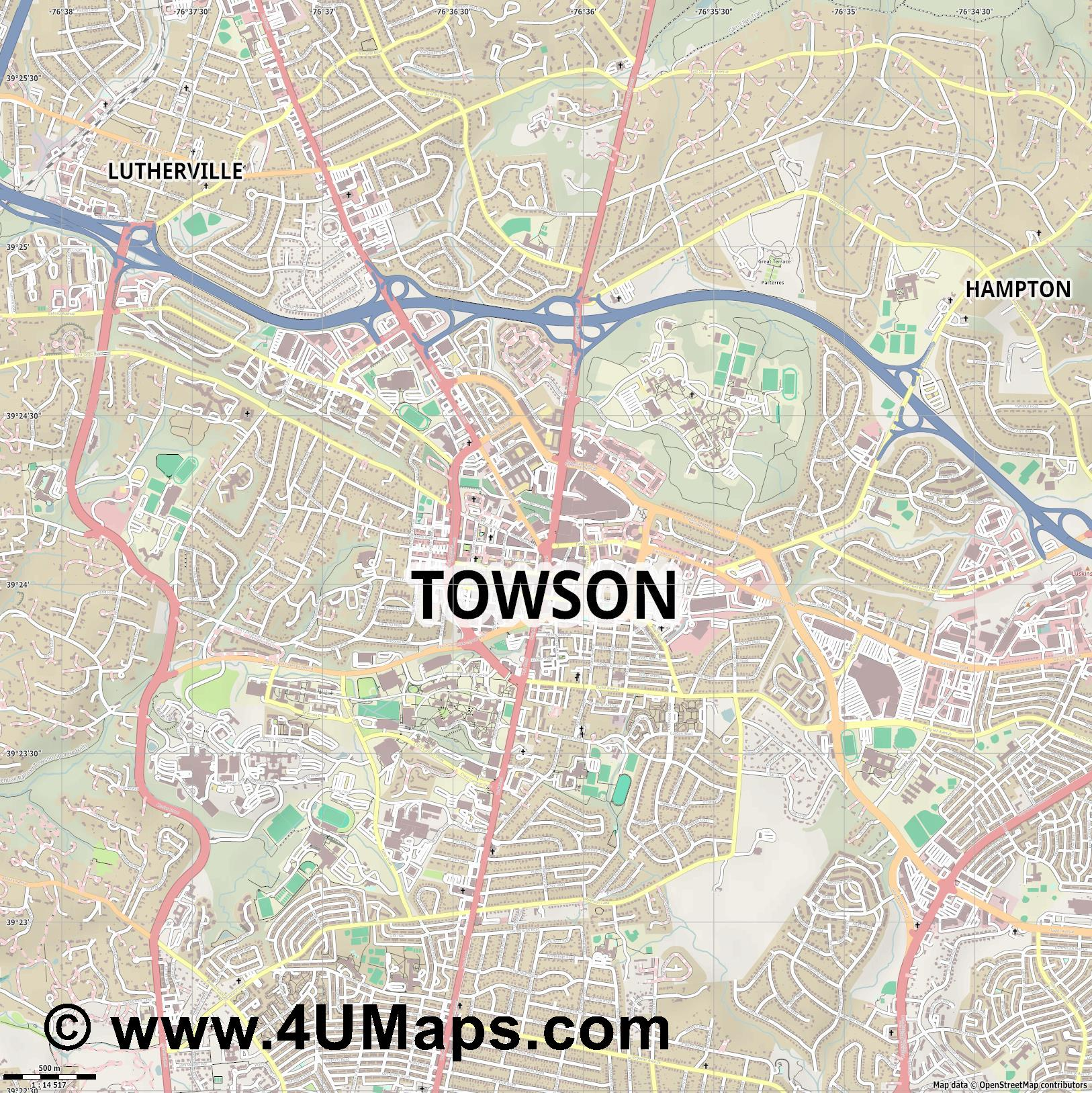 Towson  jpg ultra high detail preview vector city map