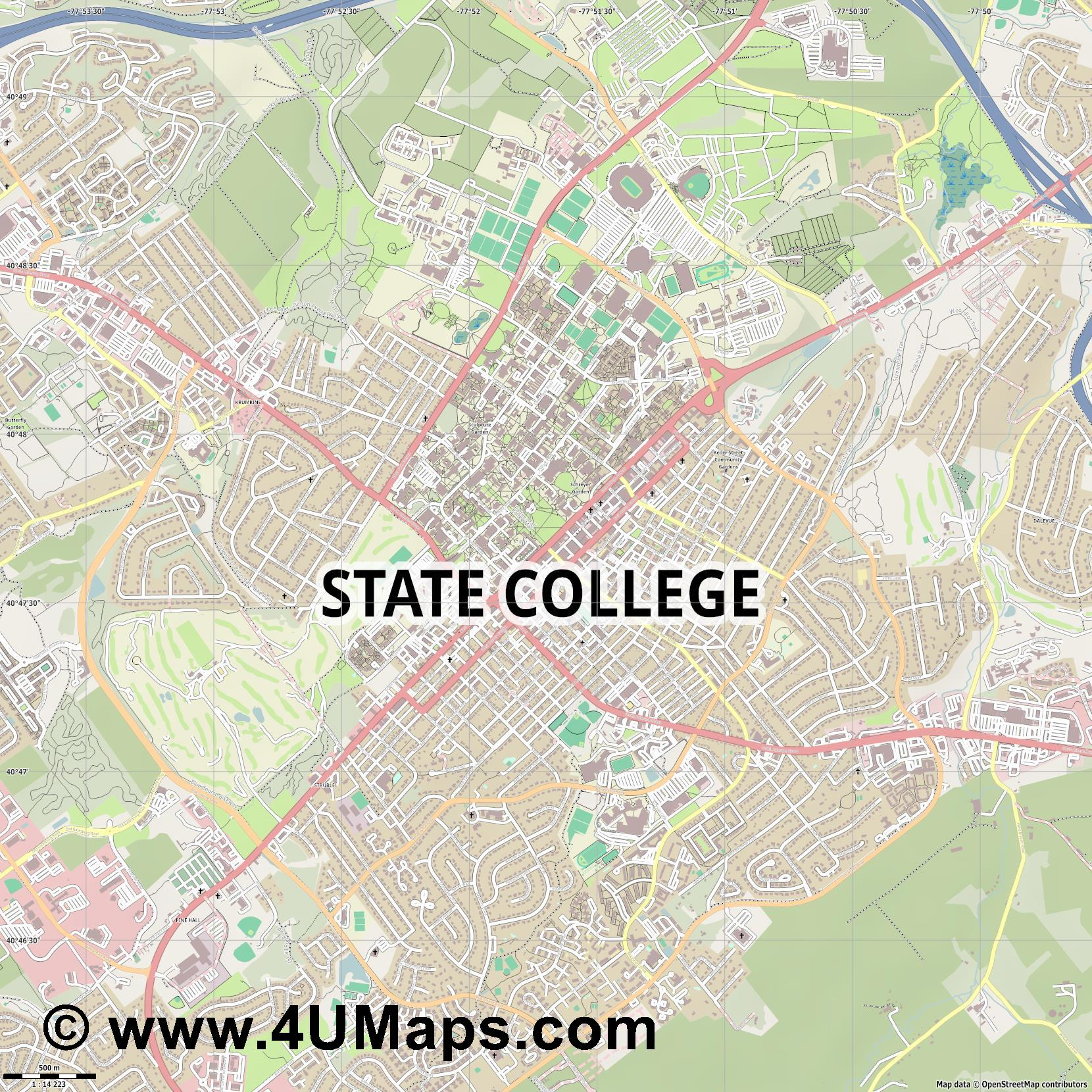 State College  jpg ultra high detail preview vector city map