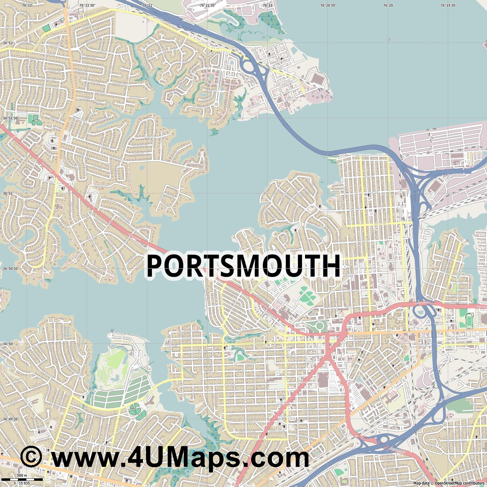 Portsmouth  jpg ultra high detail preview vector city map