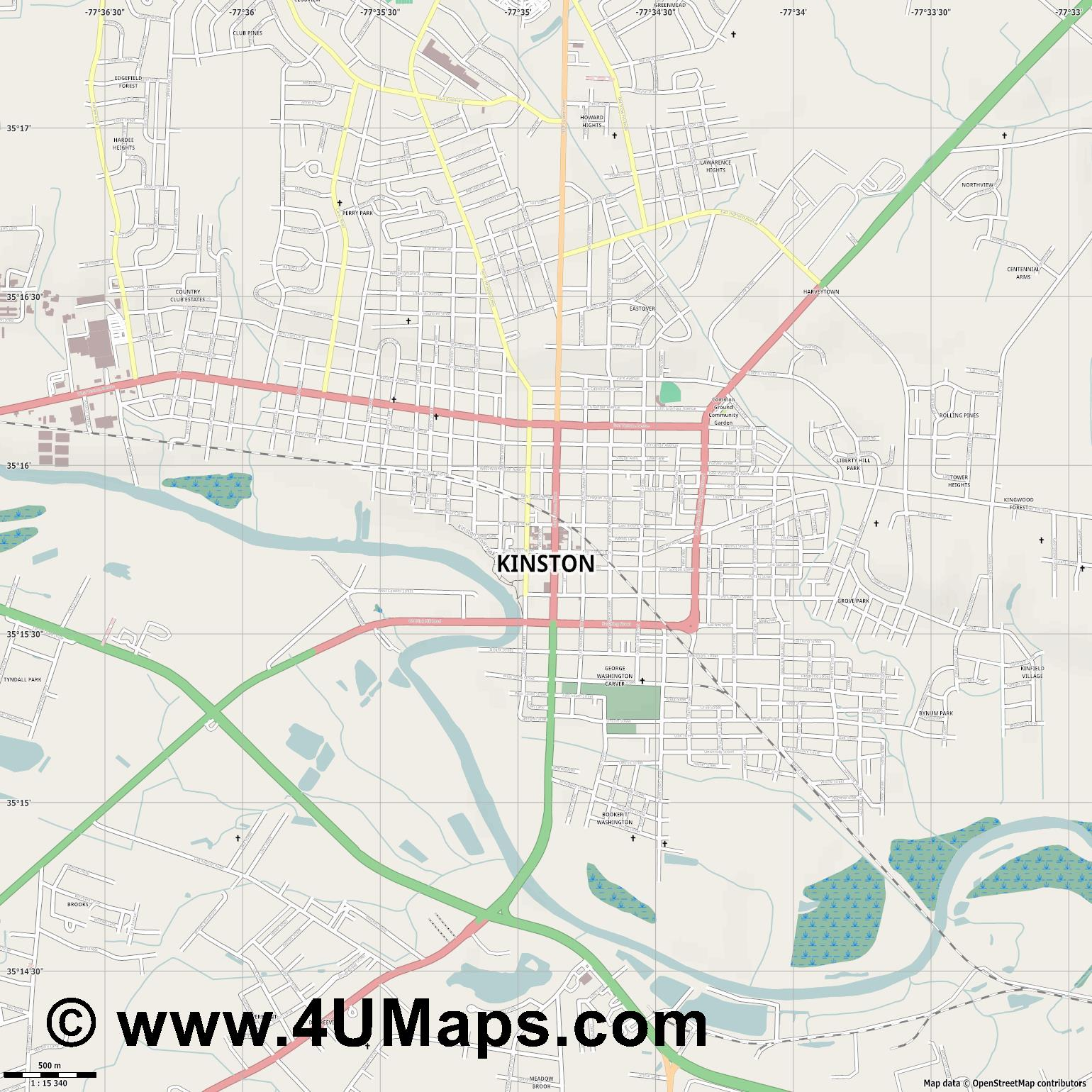Kinston  jpg ultra high detail preview vector city map