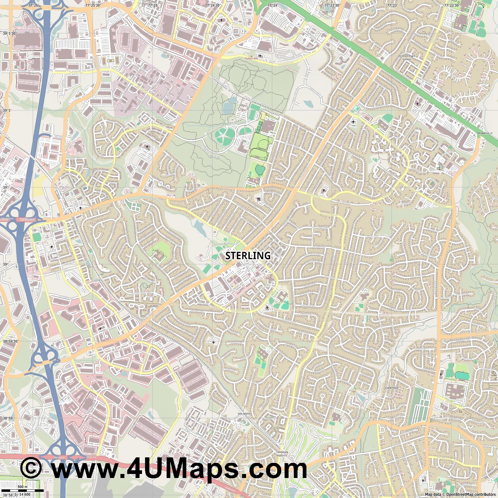 Sterling  jpg ultra high detail preview vector city map