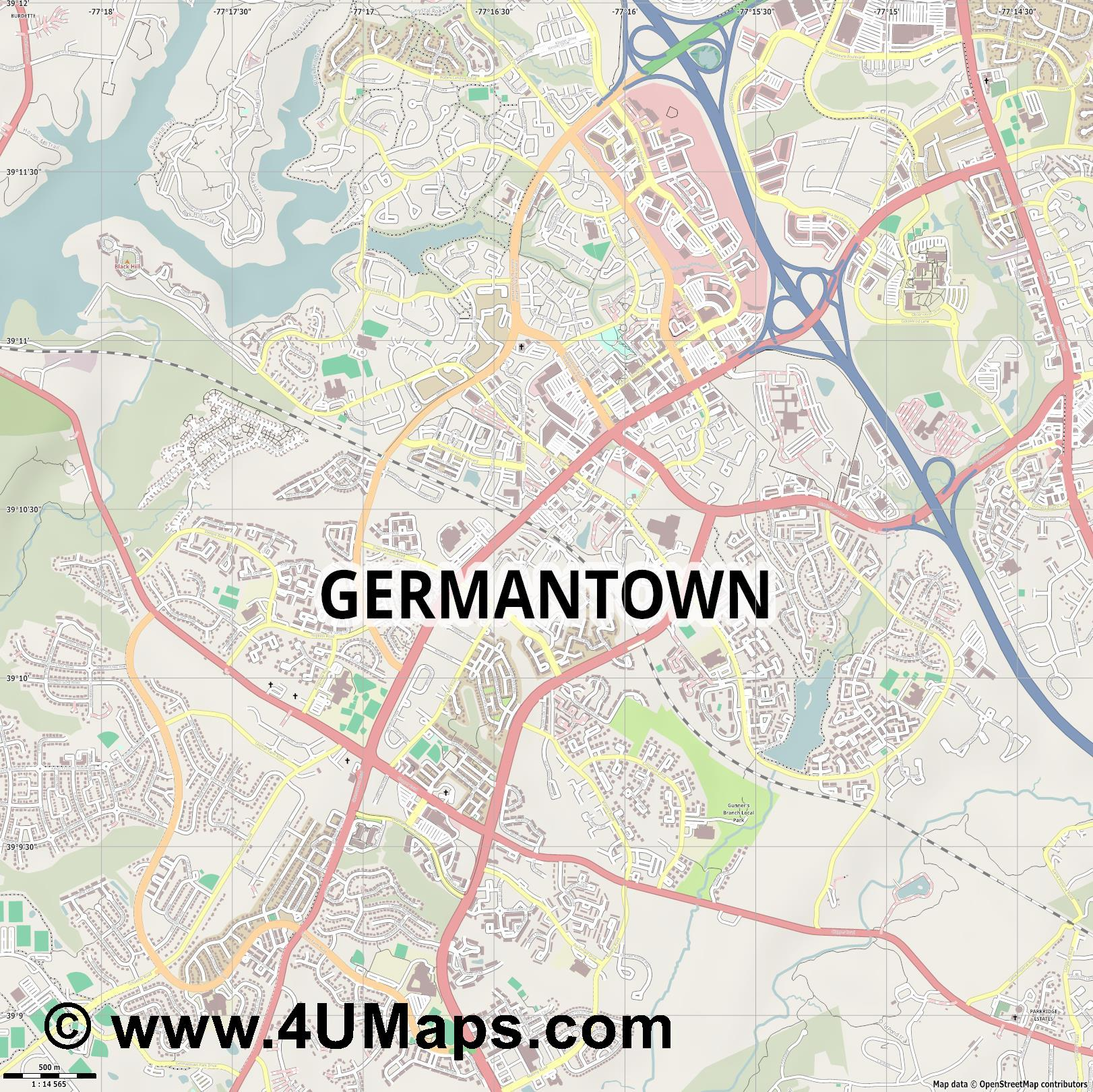 Germantown  jpg ultra high detail preview vector city map