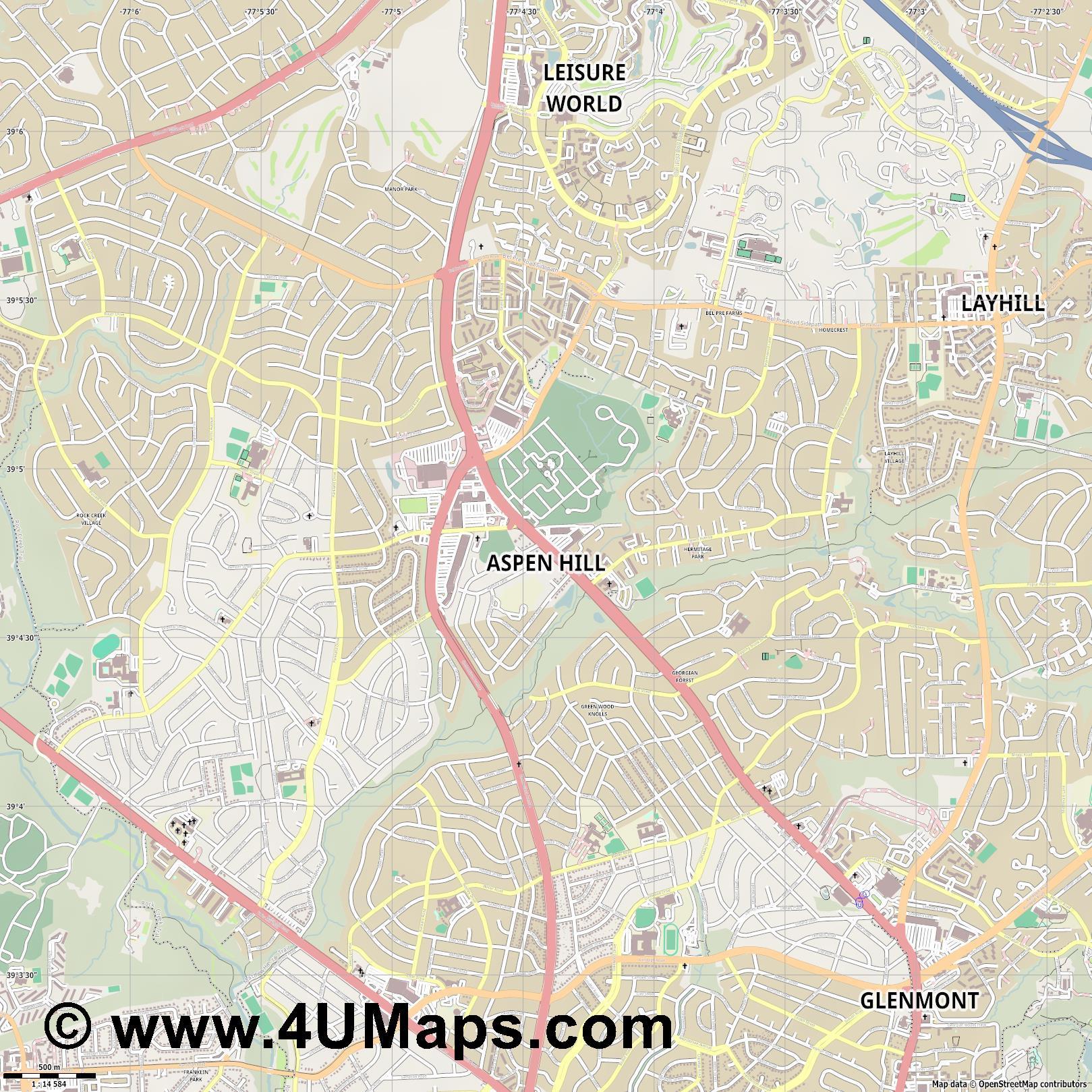 PDF Svg Scalable Vector City Map Aspen Hill