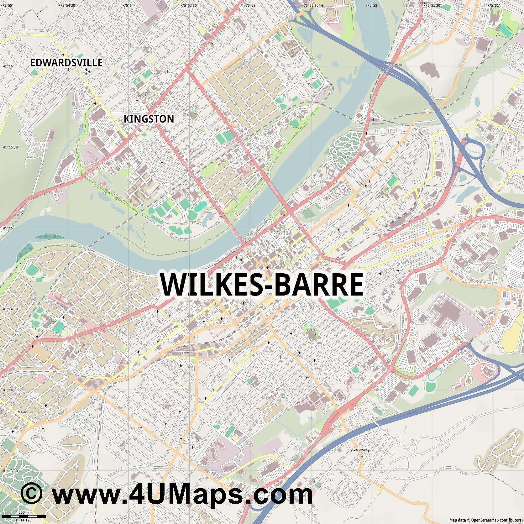 Wilkes Barre  jpg ultra high detail preview vector city map