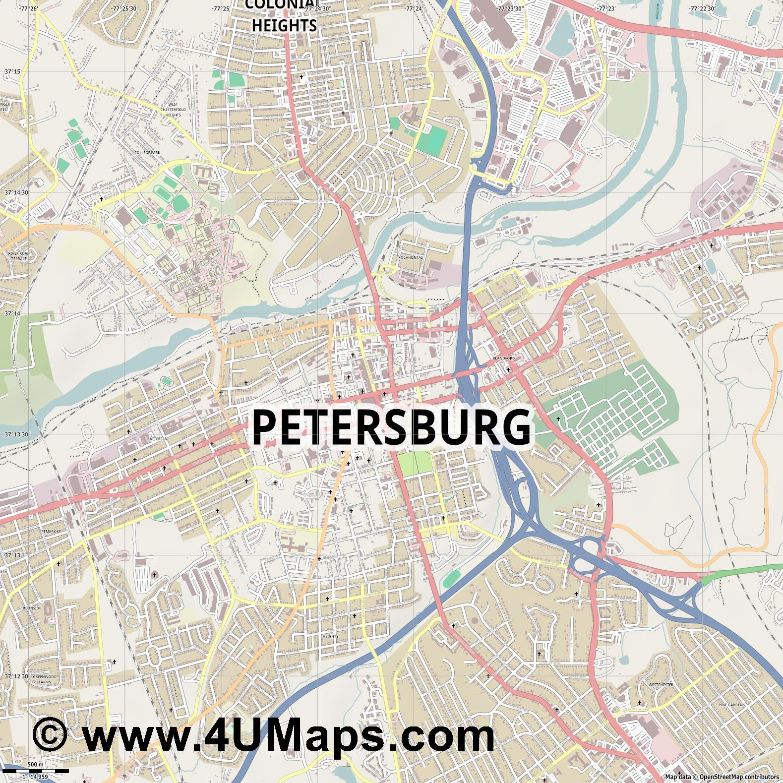 Petersburg  jpg ultra high detail preview vector city map