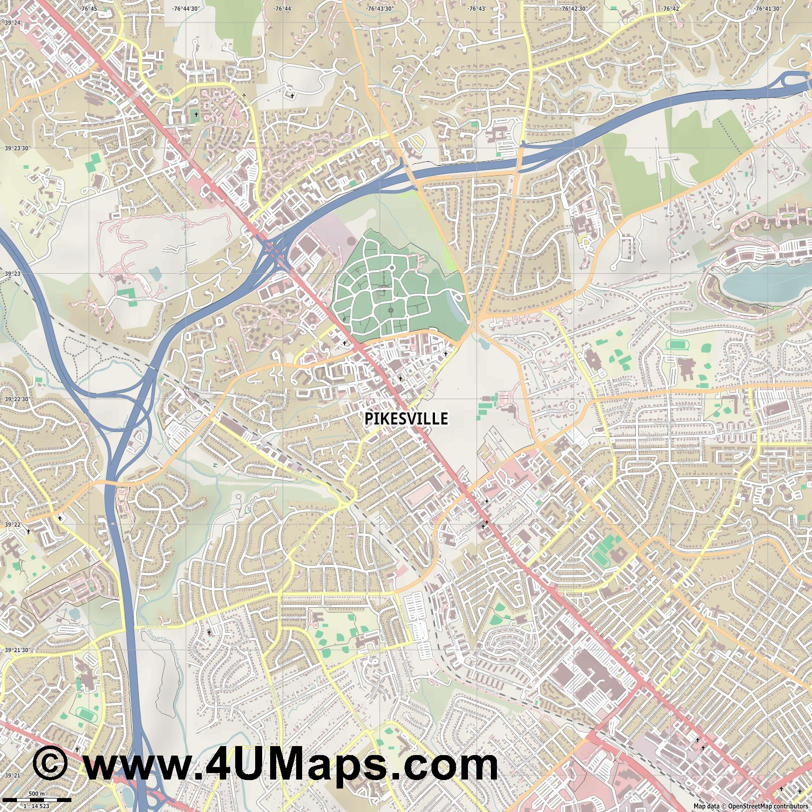 Pikesville  jpg ultra high detail preview vector city map
