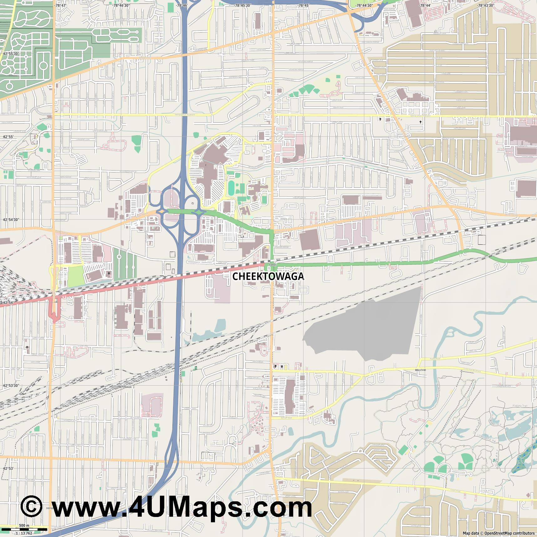 Cheektowaga  jpg ultra high detail preview vector city map