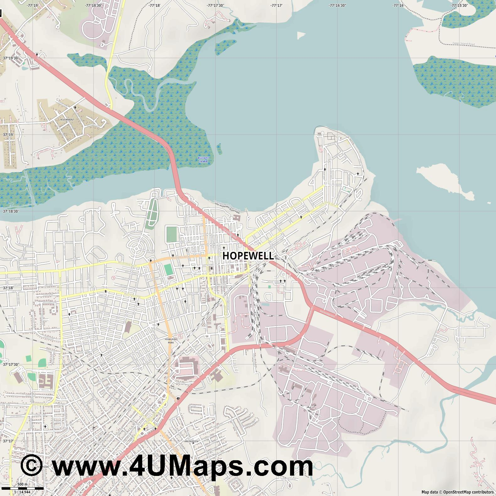 Hopewell  jpg ultra high detail preview vector city map