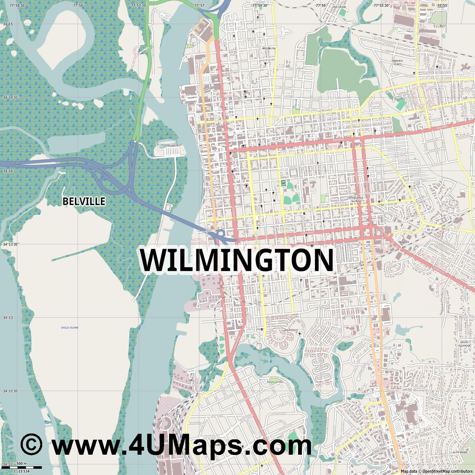Wilmington  jpg ultra high detail preview vector city map