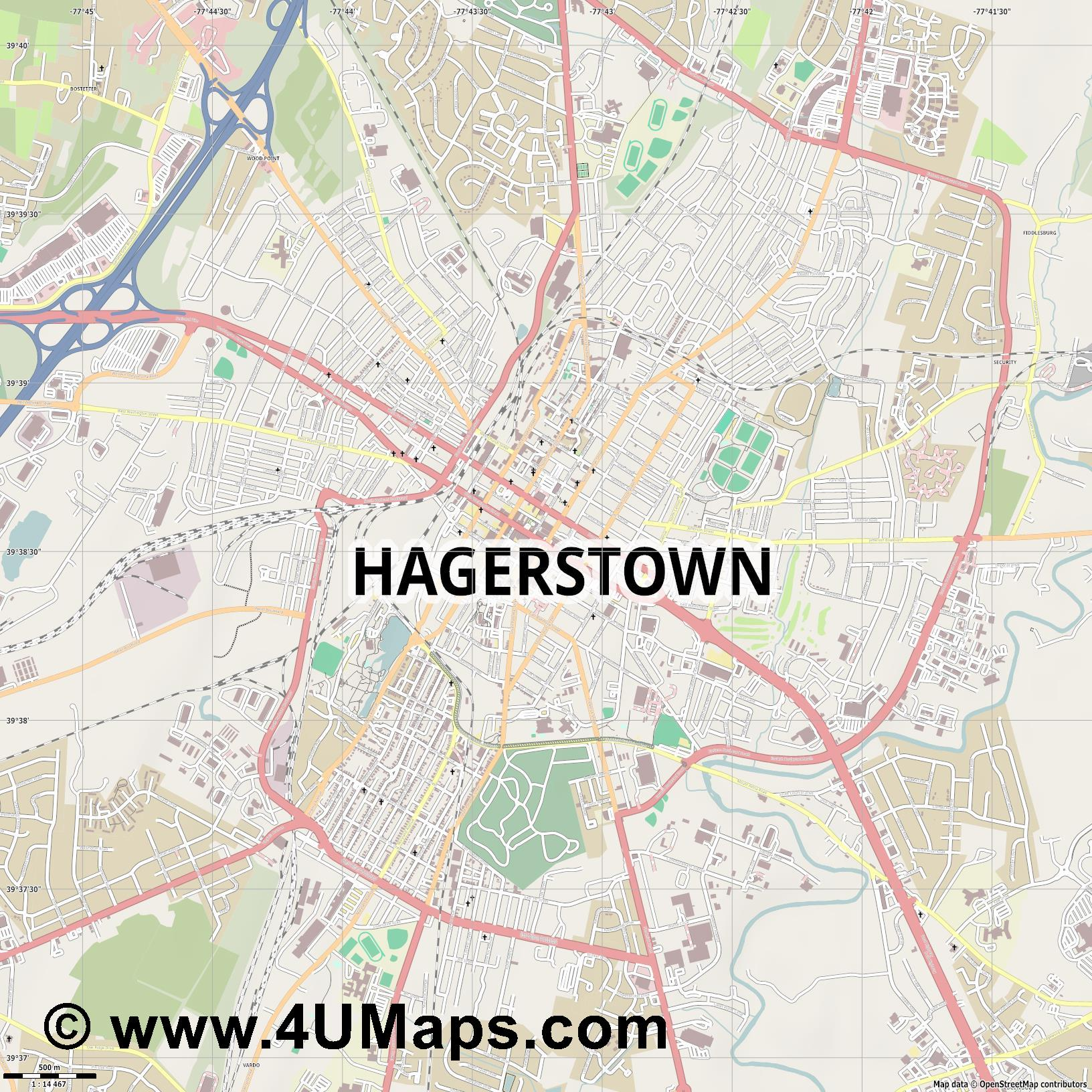 Hagerstown  jpg ultra high detail preview vector city map