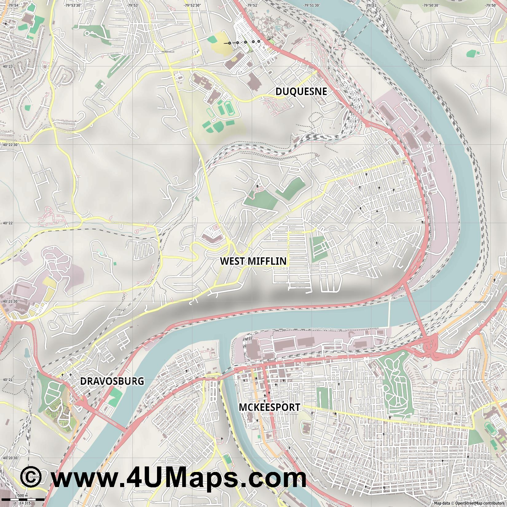 West Mifflin  jpg ultra high detail preview vector city map