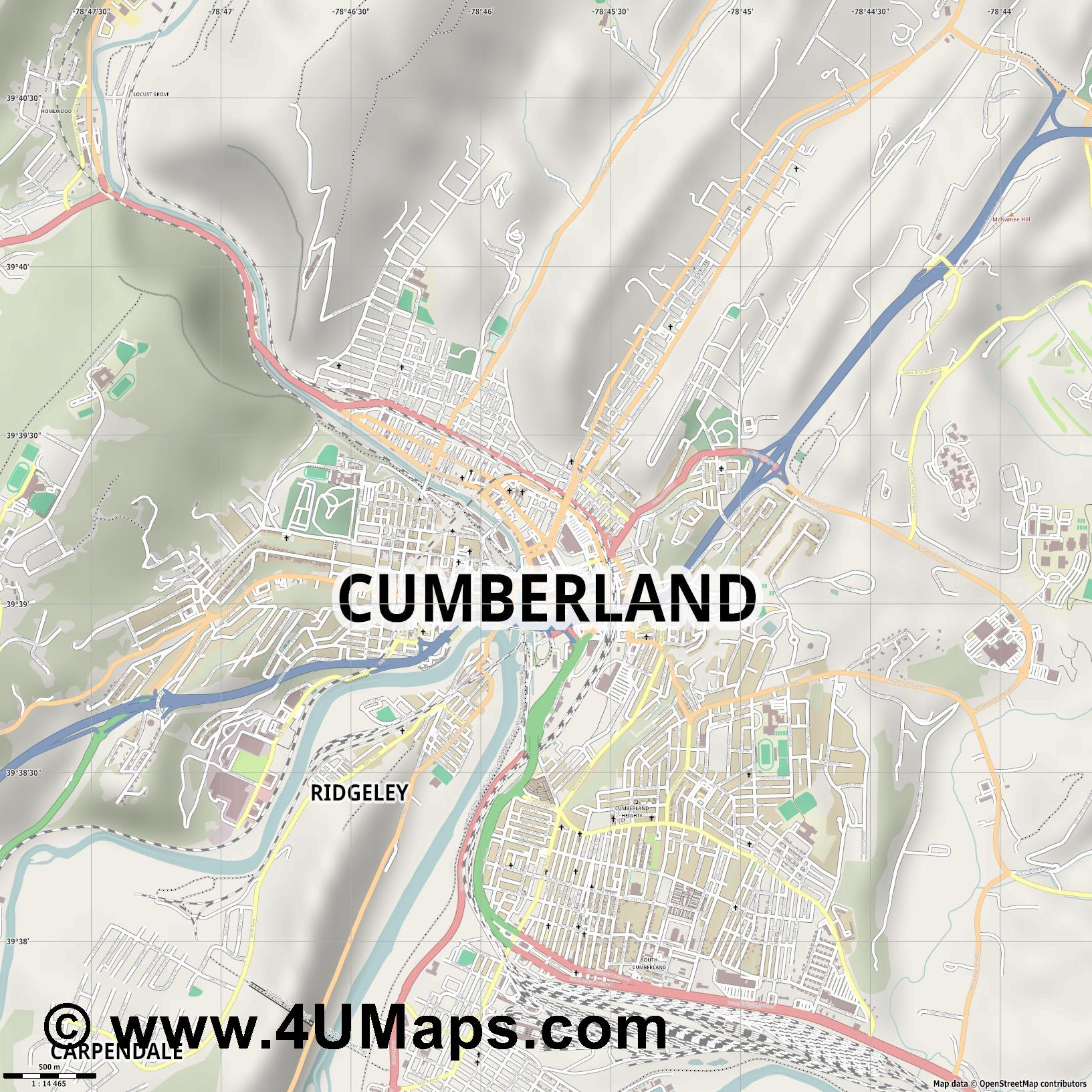 Cumberland  jpg ultra high detail preview vector city map
