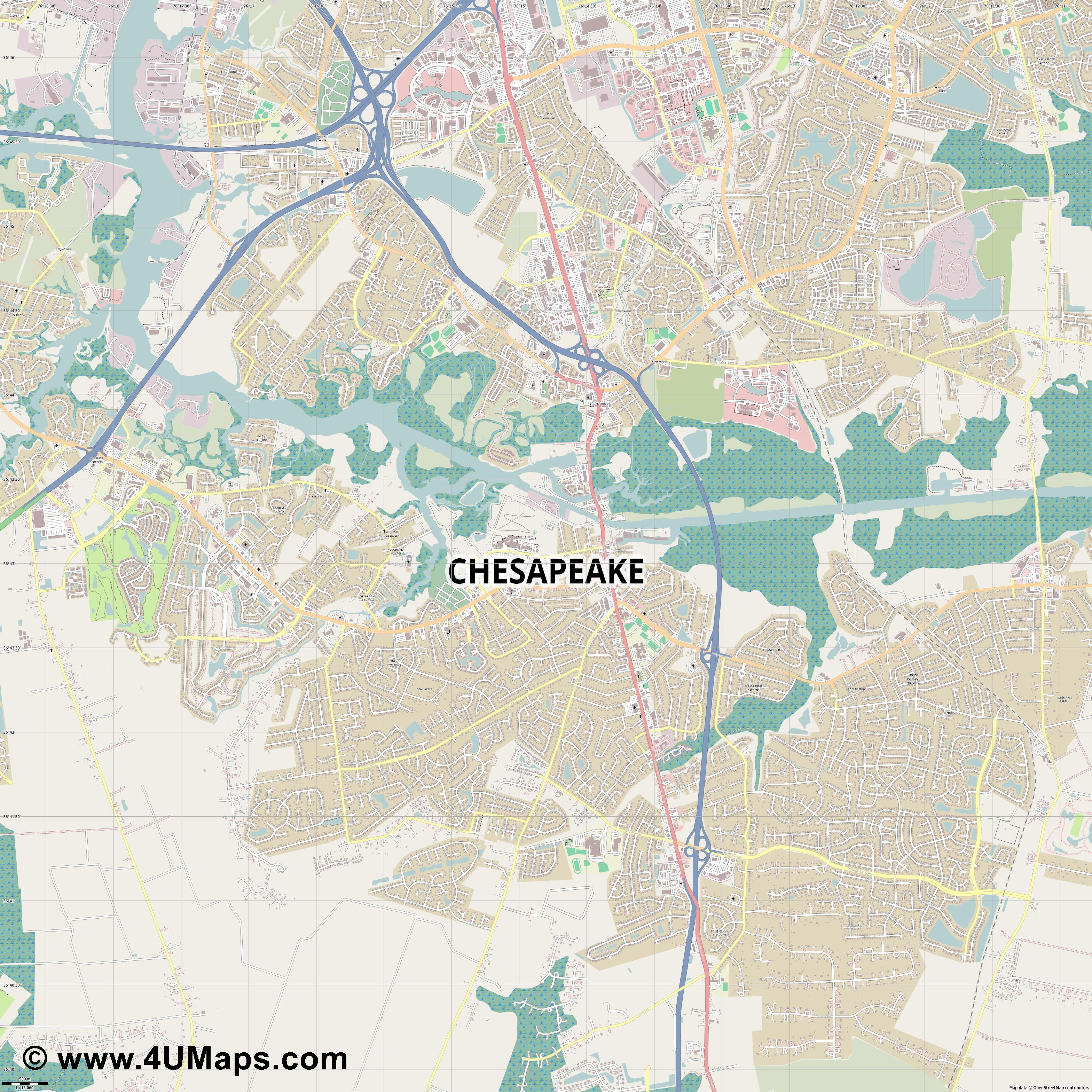 Chesapeake  jpg ultra high detail preview vector city map