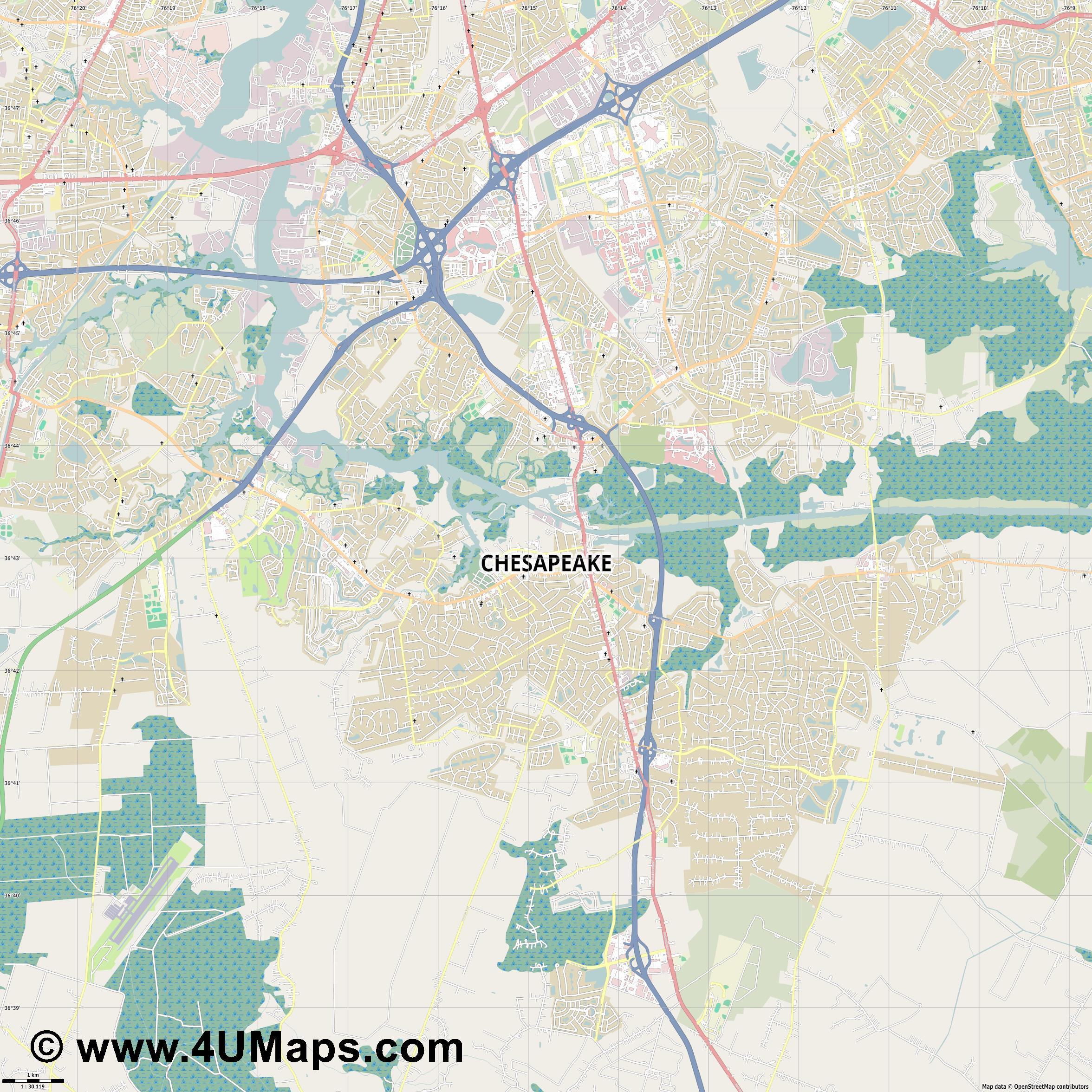 Chesapeake  jpg high detail, large area preview vector city map
